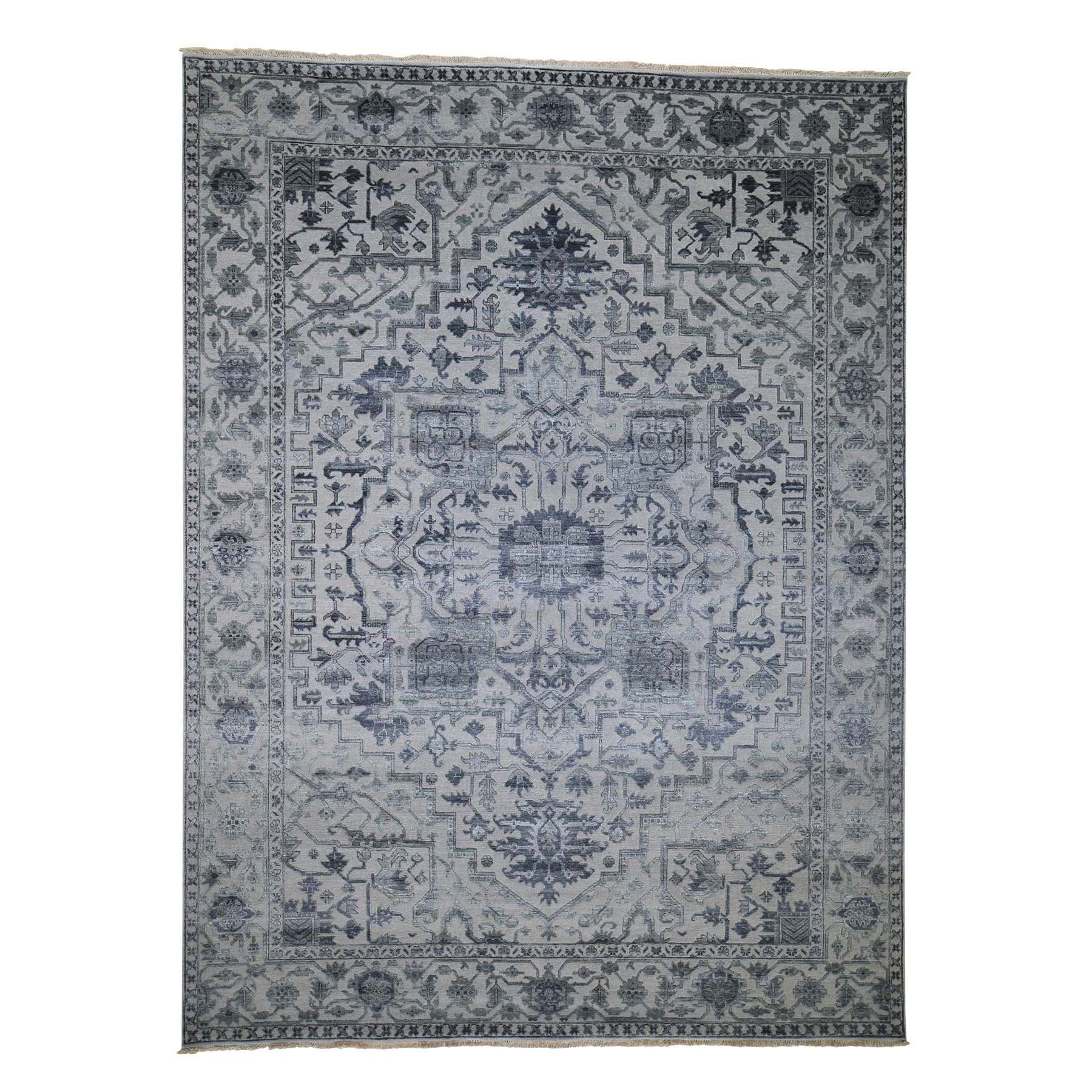"9'1""X12'1"" Silver Heriz Design Wool And Silk Hi-Lo Pile Hand-Knotted Oriental Rug moadd89b"