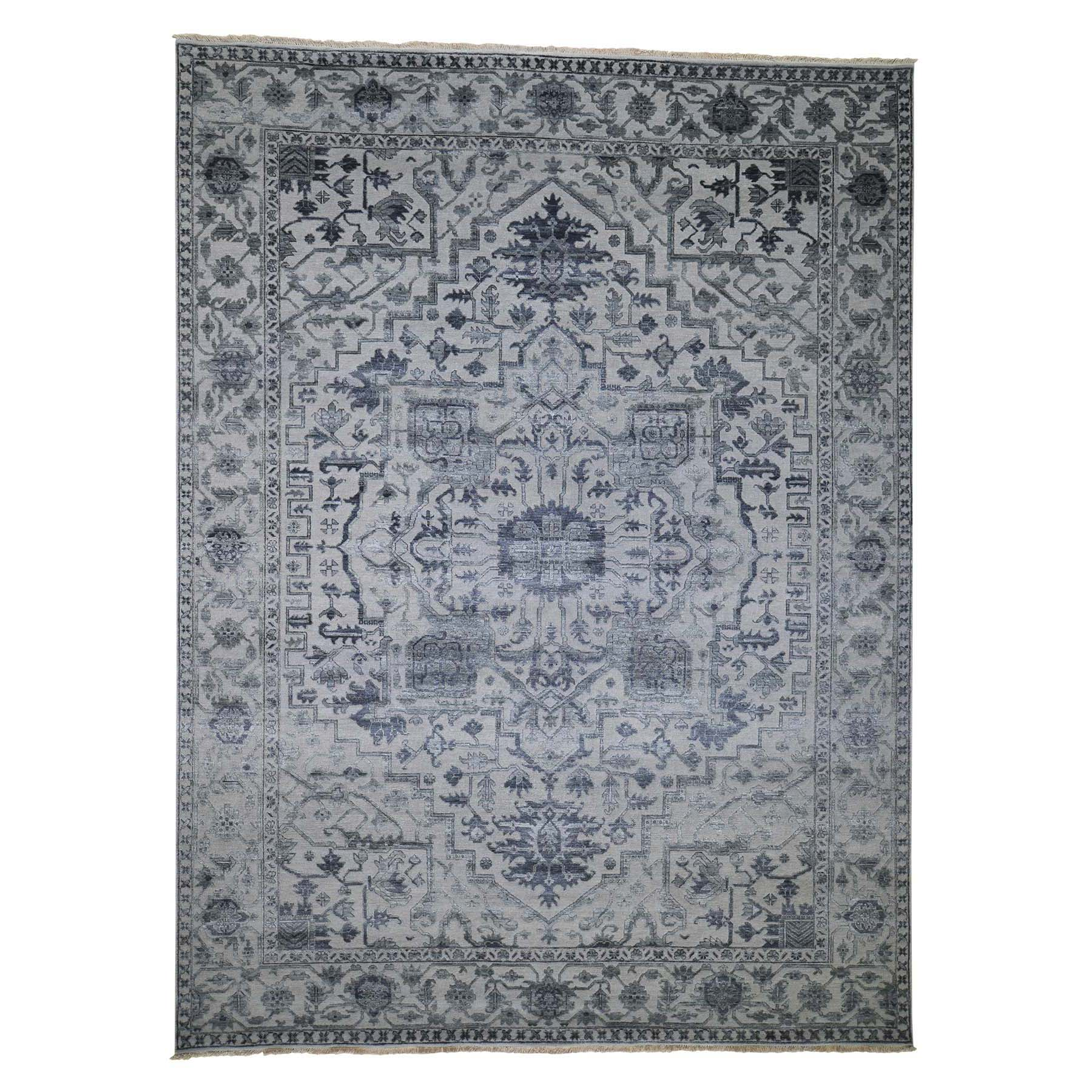 "9'X12'1"" Silver Heriz Design Wool And Silk Hi-Lo Pile Hand-Knotted Oriental Rug moadd89c"