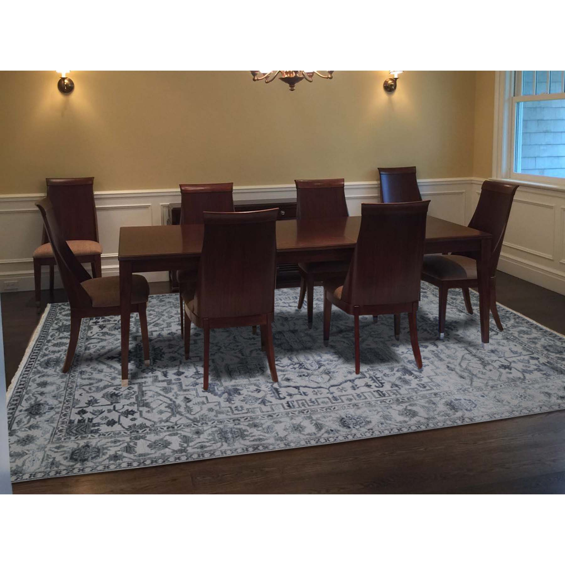 """9'x12'1"""" Silver Heriz Design Wool And Silk Hi-lo Pile Hand-Knotted Oriental Rug"""