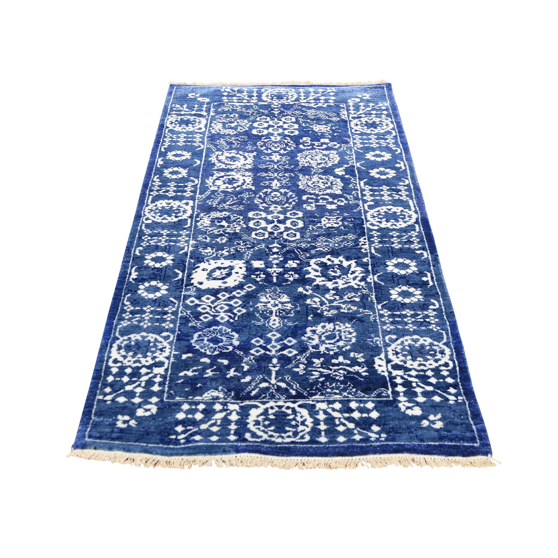 "2'7""X6' Hand-Knotted Wool And Silk Tone On Tone Tabriz Short Runner Oriental Rug moadd899"