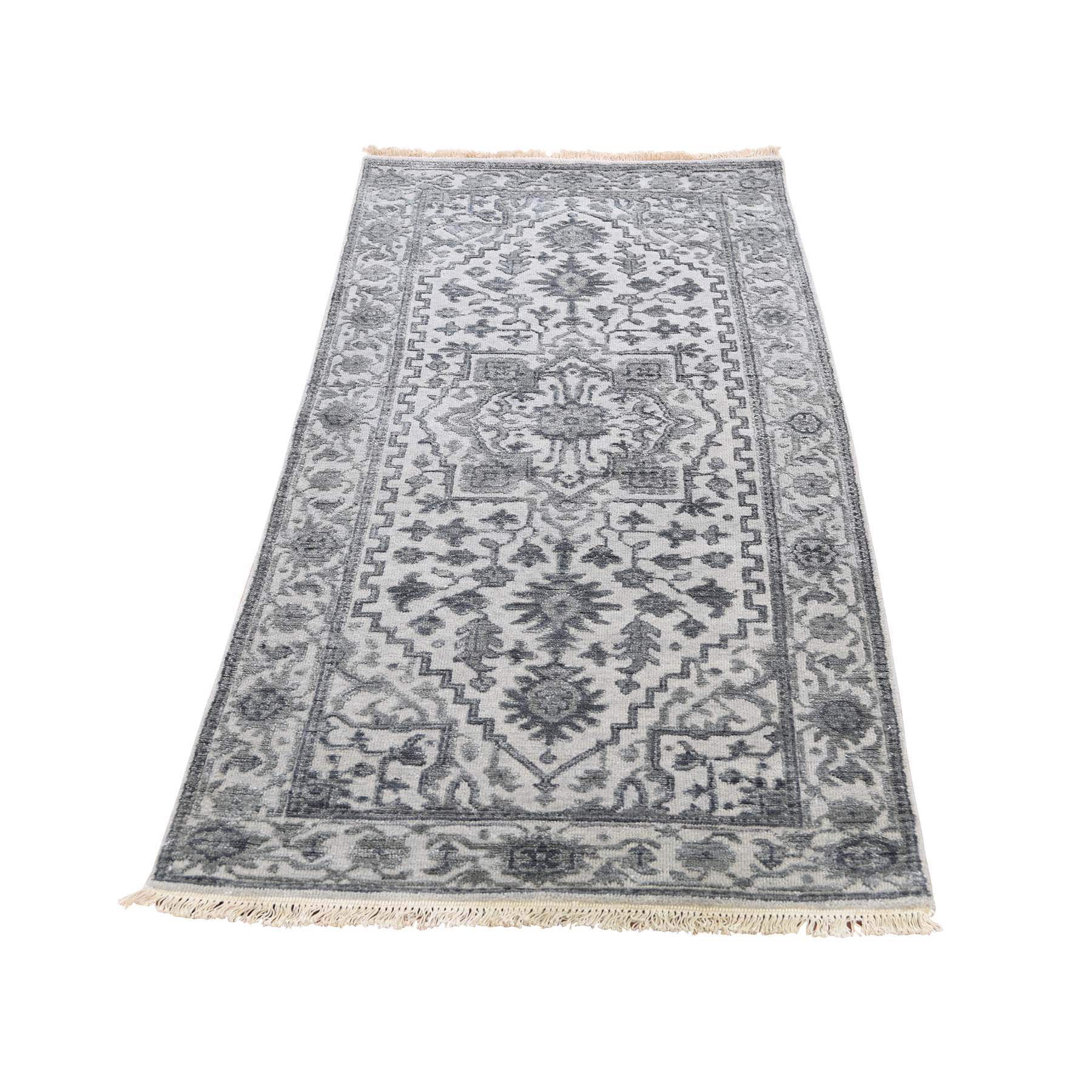 "2'6""X6' Silver Heriz Design Wool And Silk Hi-Lo Pile Short Runner Hand-Knotted Oriental Rug moadd900"