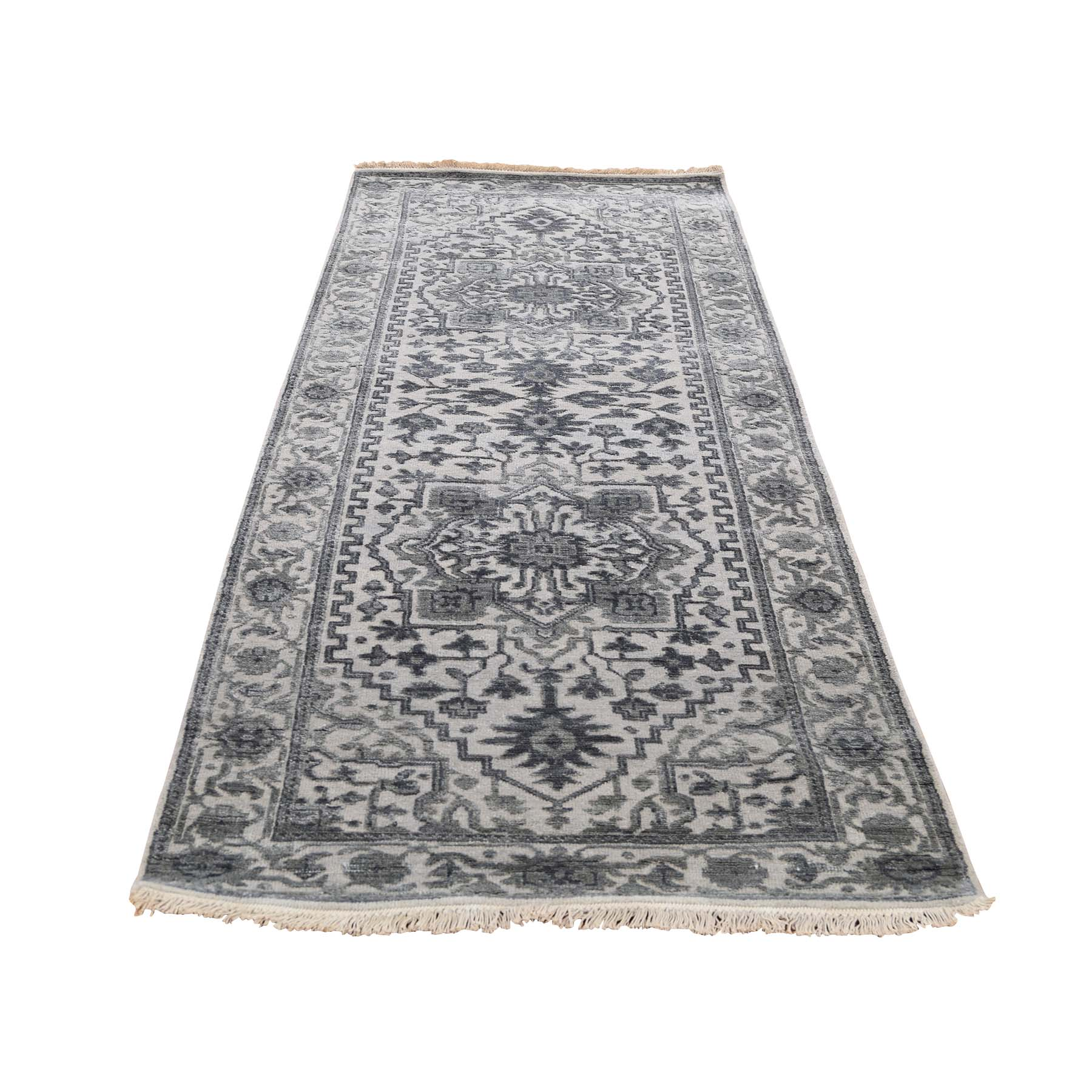 "2'6""X8'2"" Silver Heriz Design Wool And Silk Hi-Lo Pile Runner Hand-Knotted Oriental Rug moadd90c"