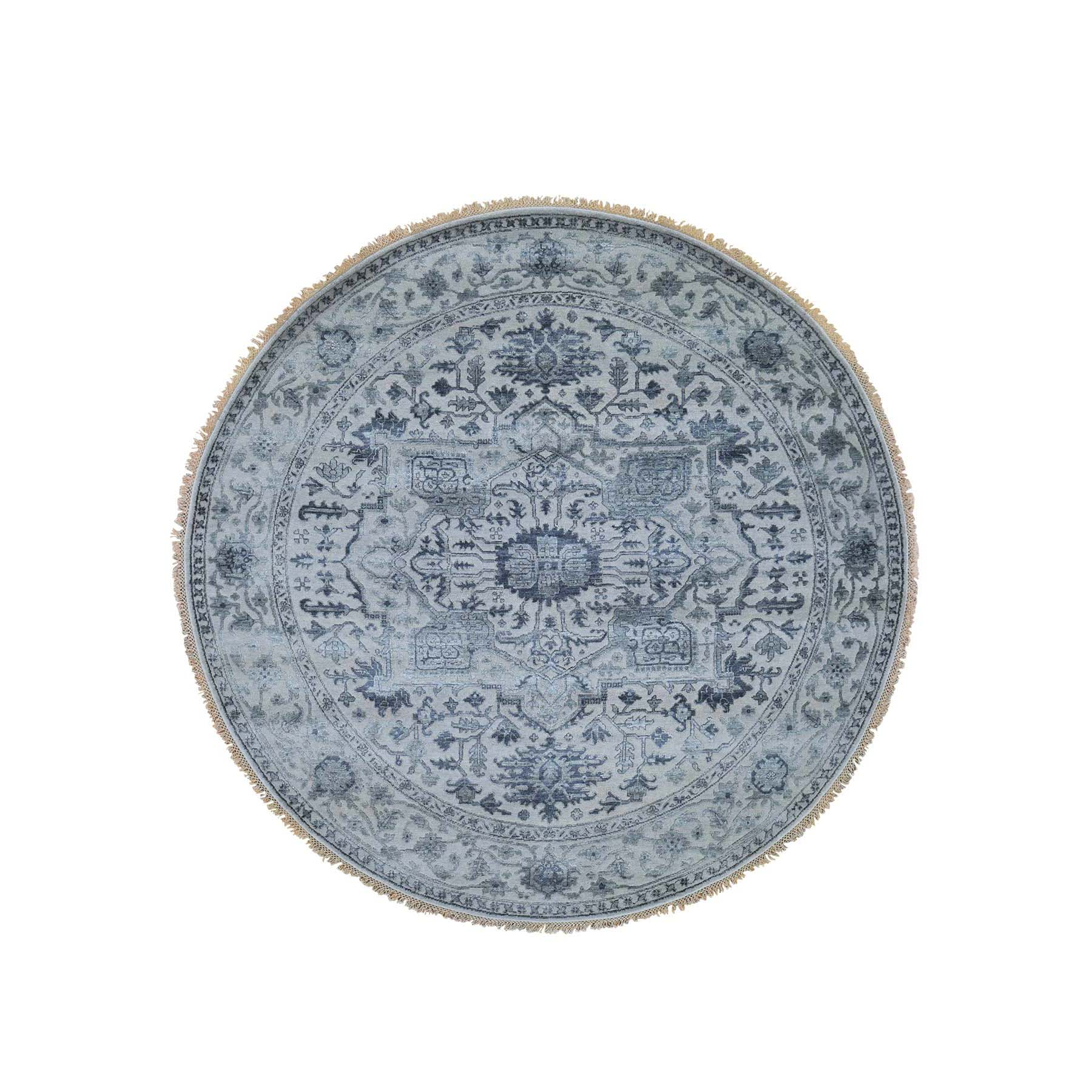 "8'1""X8'1"" Silver Heriz Design Wool And Silk Hi-Lo Pile Hand-Knotted Round Oriental Rug moadd909"