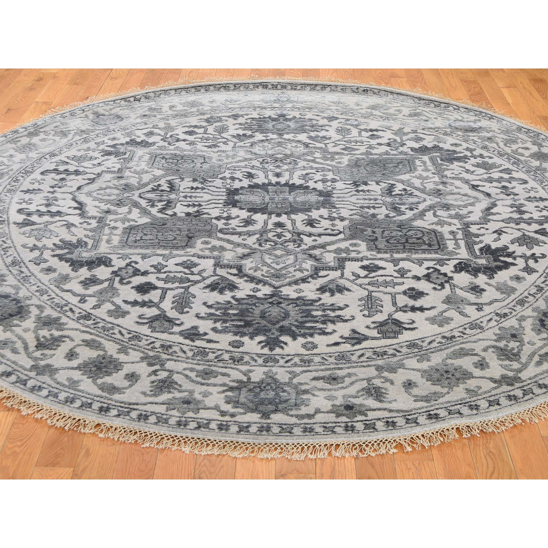8-1 x8-1  Silver Heriz Design Wool And Silk Hi-lo Pile Hand-Knotted Round Oriental Rug
