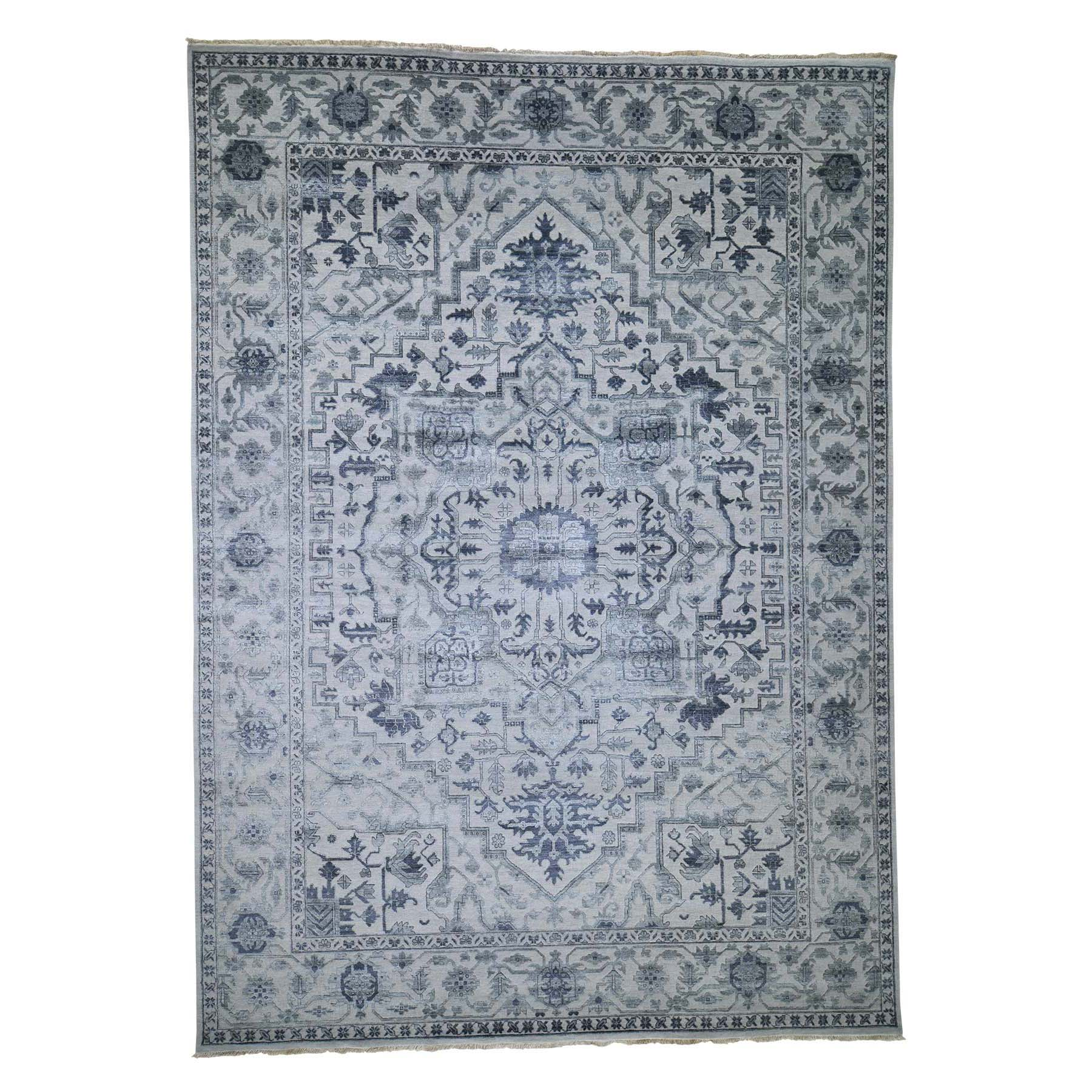 10'x14' Silver Heriz Design Wool And Silk Hi-lo Pile Hand-Knotted Oriental Rug