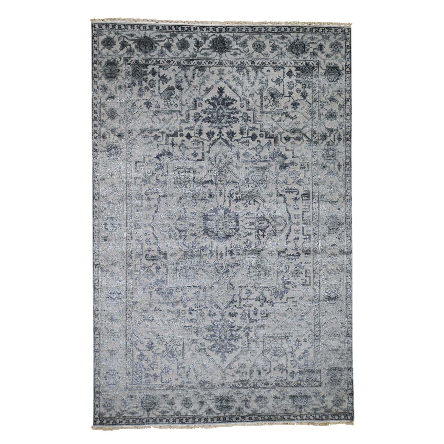 "6'x9'2"" Silver Heriz Design Wool And Silk Hi-lo Pile Hand-Knotted Oriental Rug"