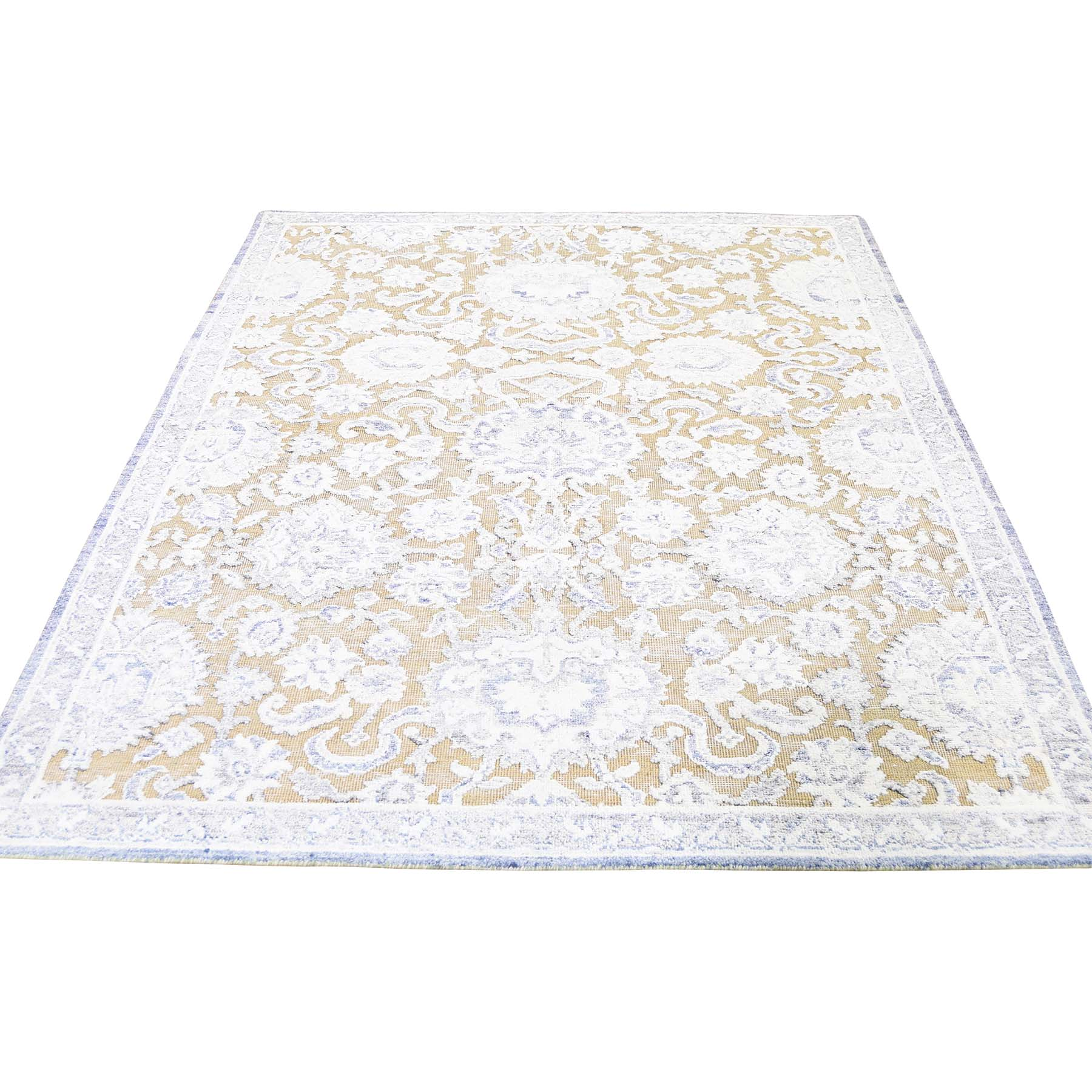 """4'10""""X7' Silk With Textured Wool Hand Knotted Oriental Rug moadd9bc"""