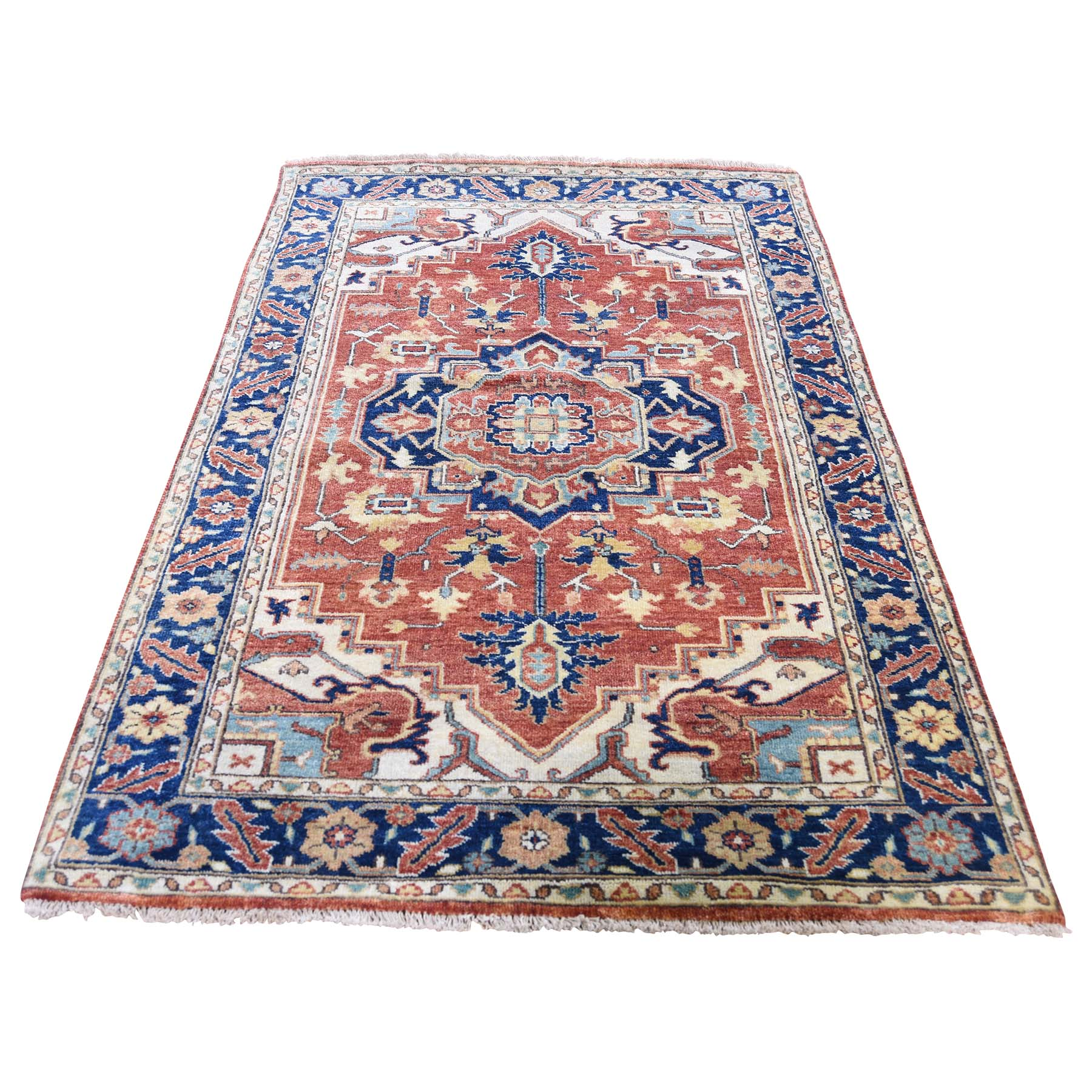 """3'X5'2"""" Antiqued Heriz Re-Creation Pure Wool Hand Knotted Oriental Rug moadd9b7"""