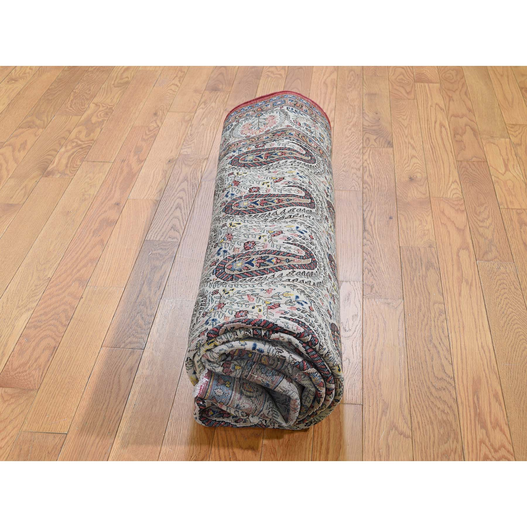 6-3 x8-9  Antique Persian Qum Good Condition Paisley Design Hand-Knotted Fine Oriental Rug