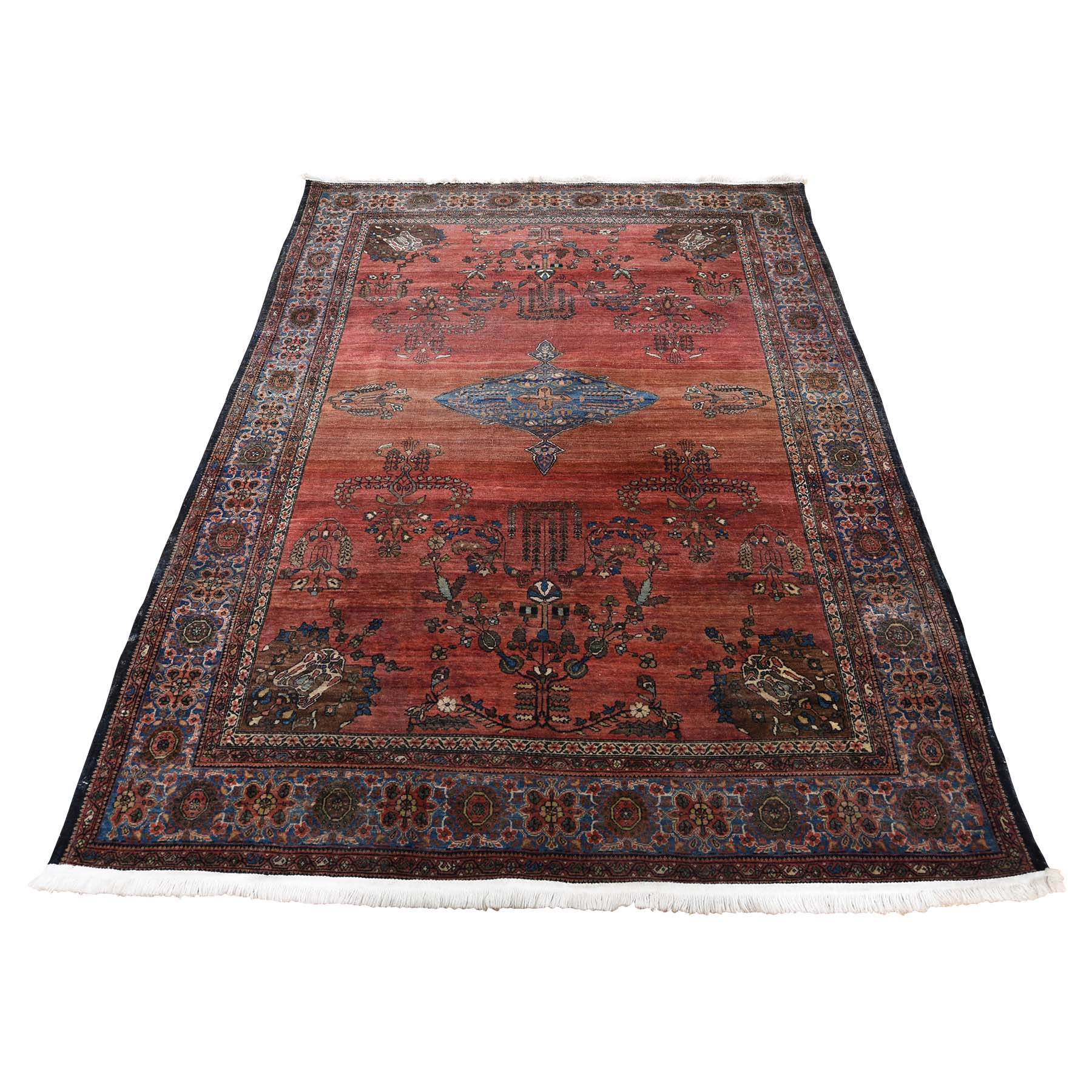 "4'2""X6'4"" Antique Persian Sarouk Fereghan Worn But Soft Hand-Knotted Oriental Rug moadd9d0"