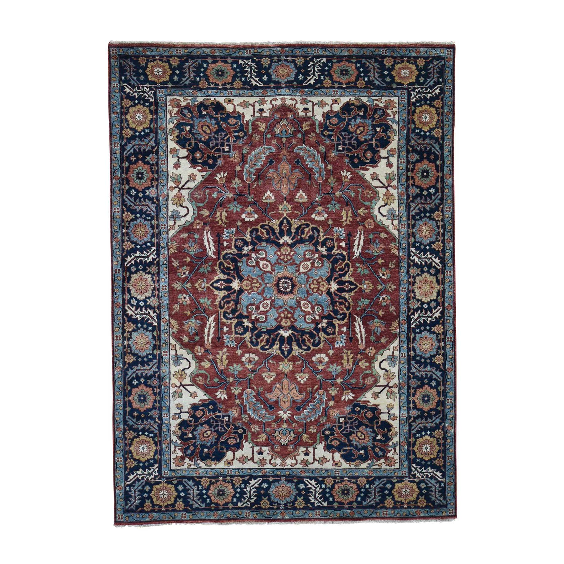 """5'2""""x7'2"""" Antiqued Heriz Re-creation Hand-Knotted Pure Wool Oriental Rug"""