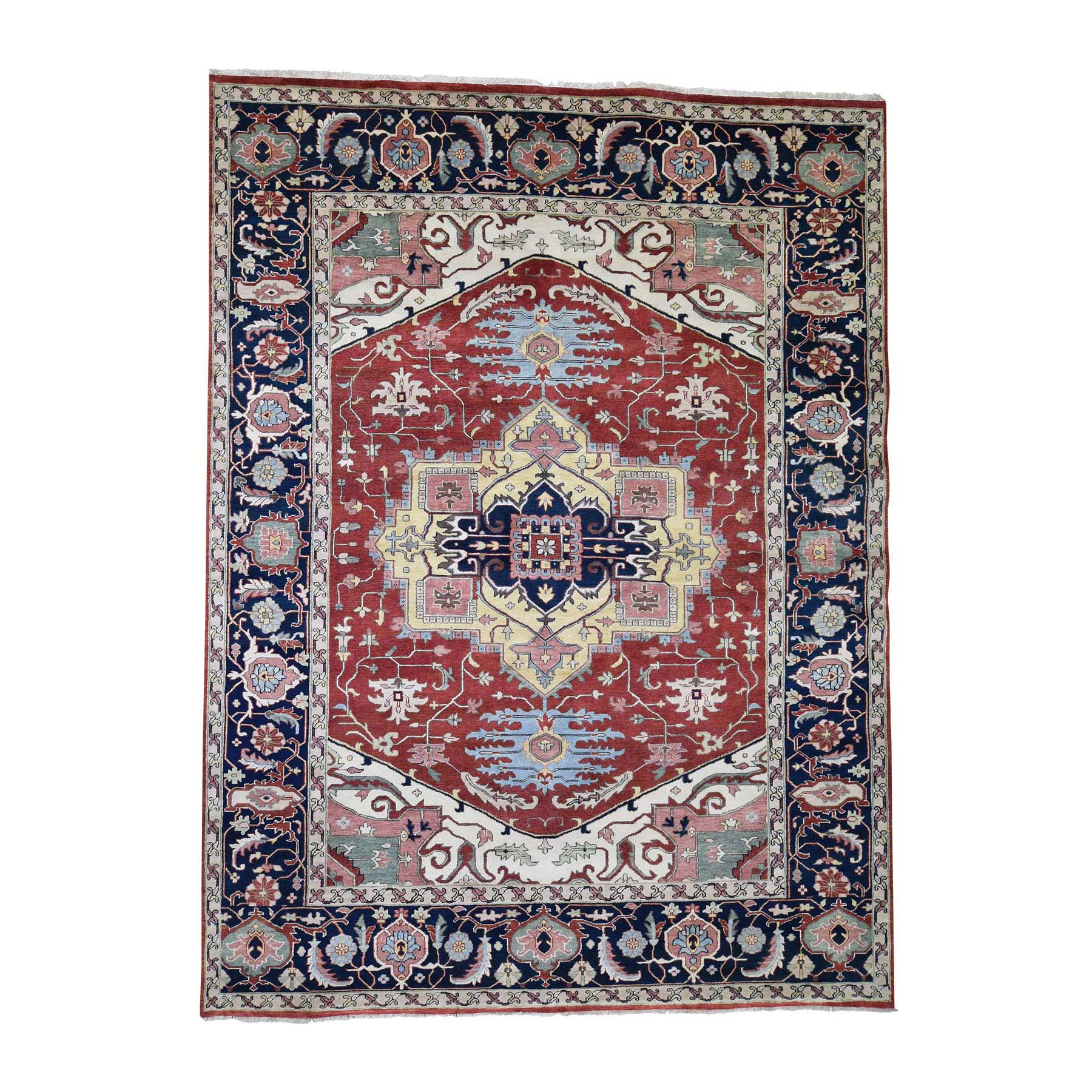 "8'9""X11'9"" Antiqued Heriz Pure Wool Hand Knotted Oriental Rug moadd96c"