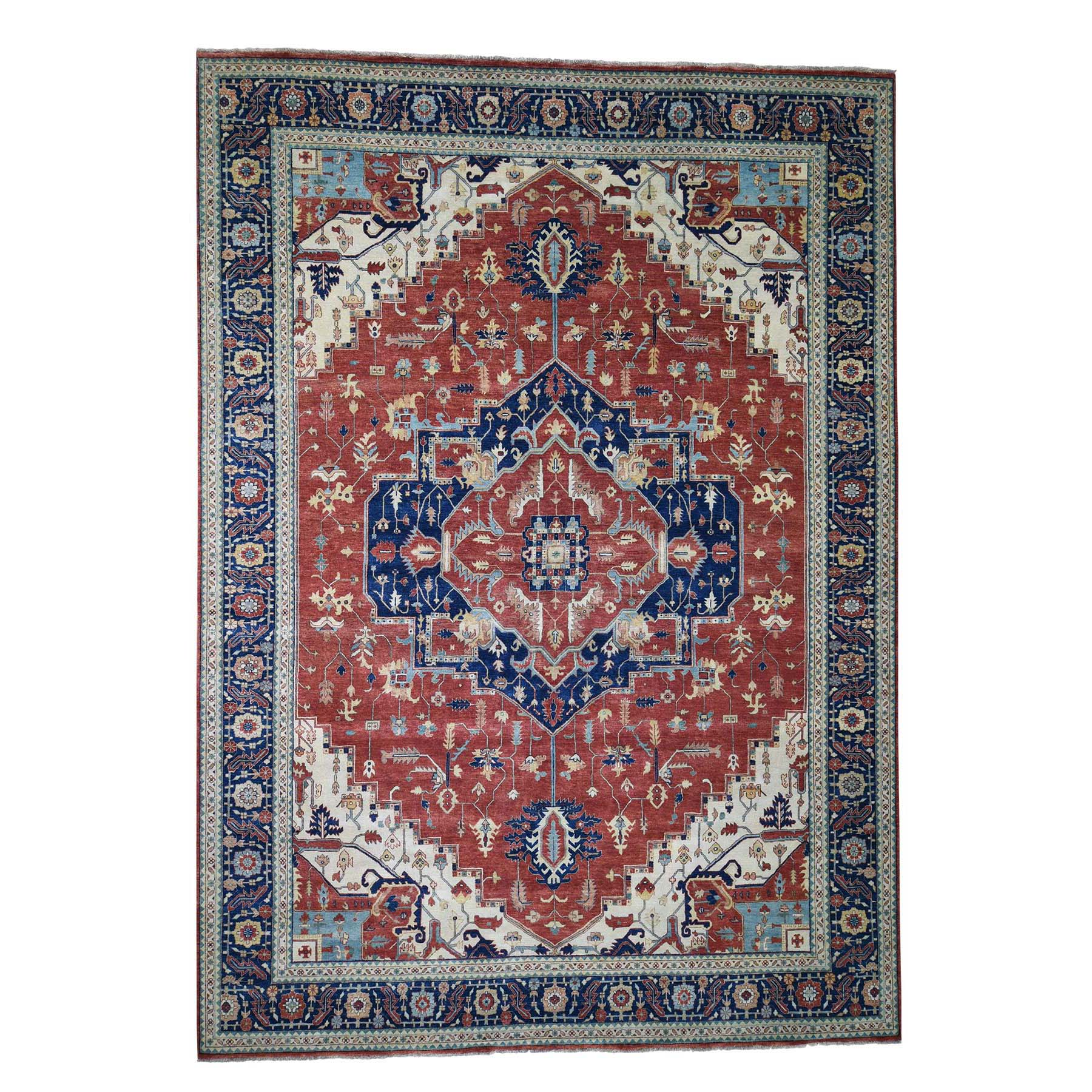 "10'1""X14'2"" Antiqued Heriz Re-Creation Pure Wool Hand Knotted Oriental Rug moadd96e"