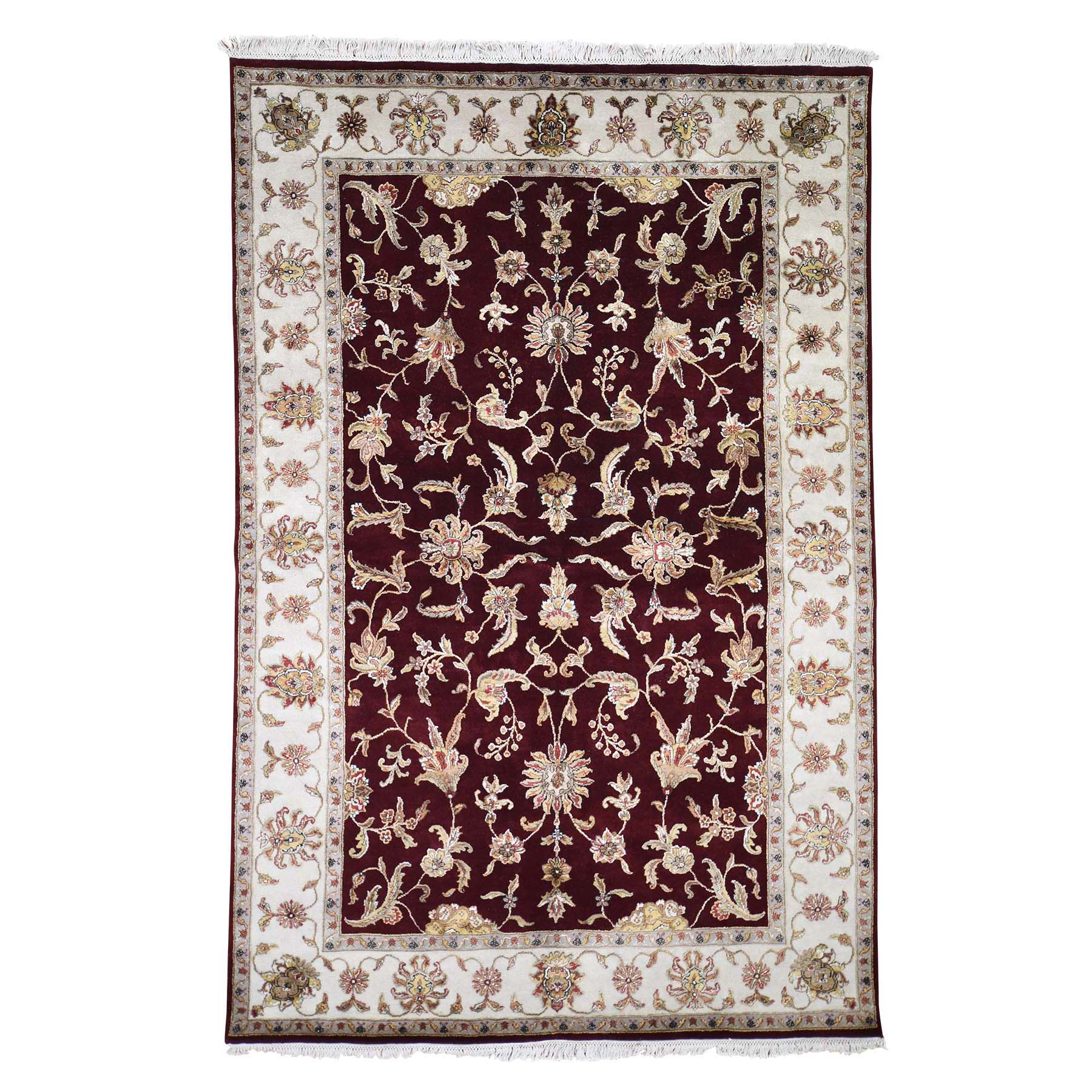 "6'x9'1""Rajasthan Half Wool and Half Silk Hand-Knotted Oriental Rug"