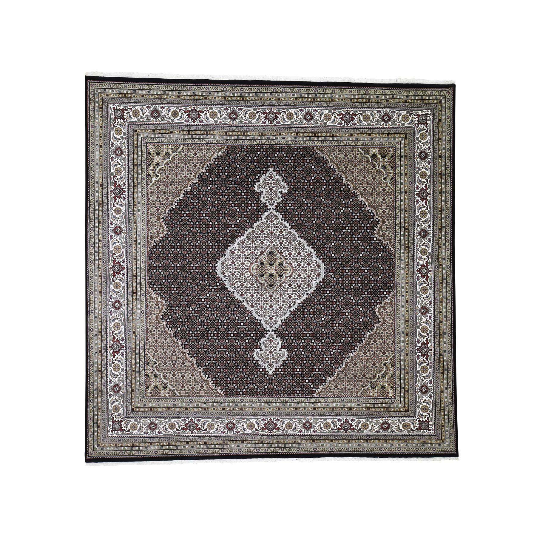 9'X9' Tabriz Mahi Wool And Silk Square Hand-Knotted Oriental Rug moade0a9