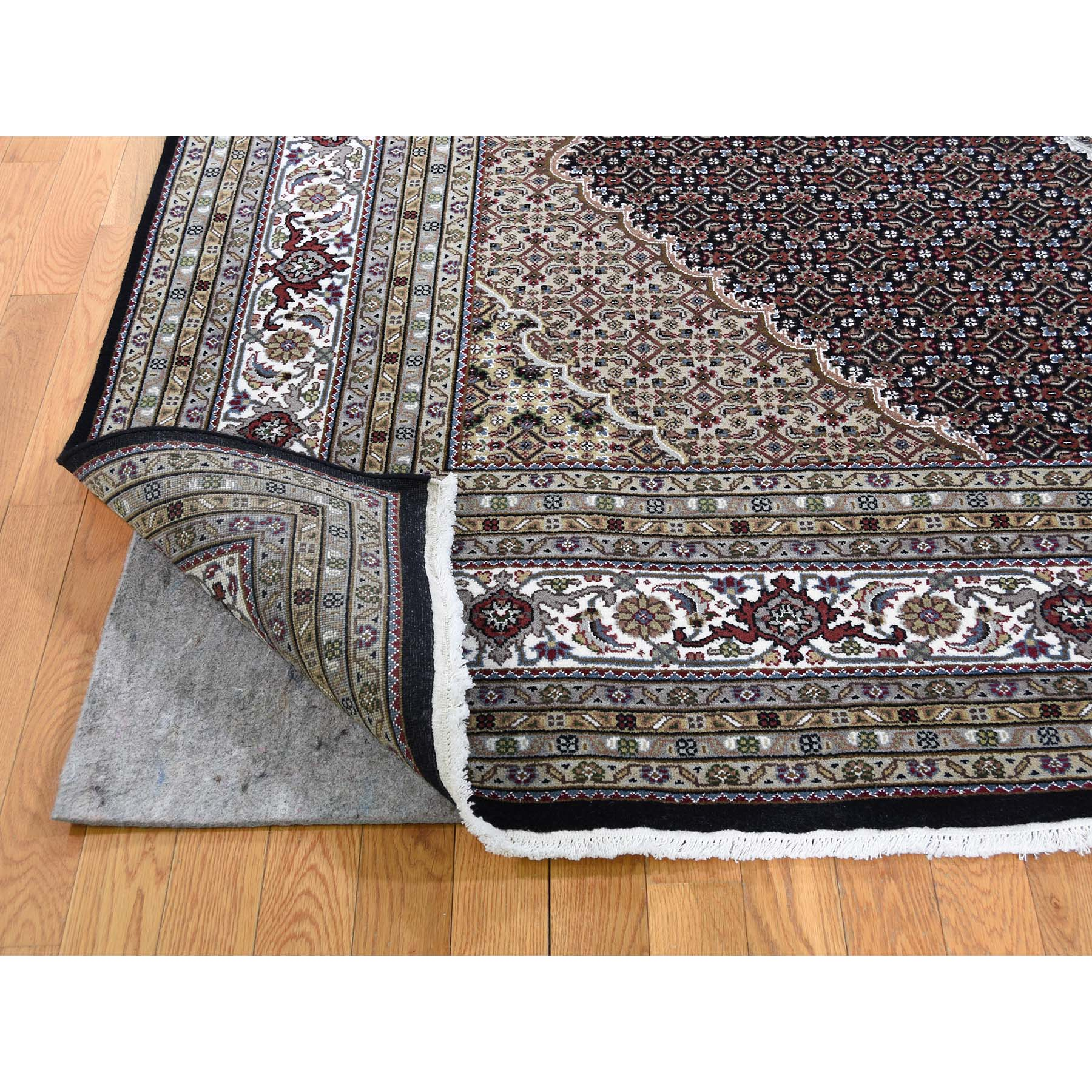 9-x9- Tabriz Mahi Wool and Silk Square Hand-Knotted Oriental Rug