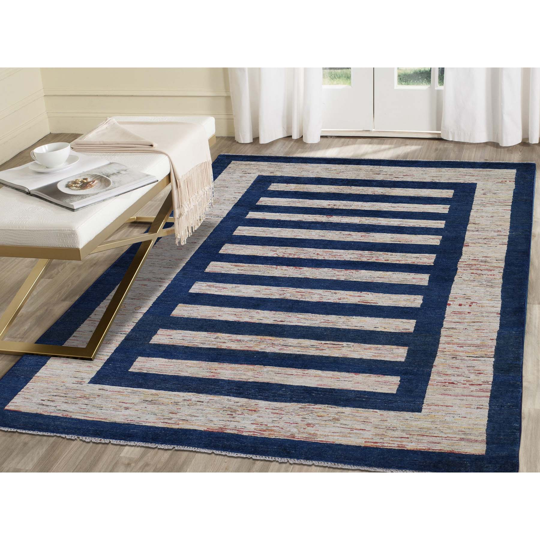 """5'7""""x8' On Clearance Pure Wool Peshawar Gabbeh Hand Knotted Oriental Rug"""