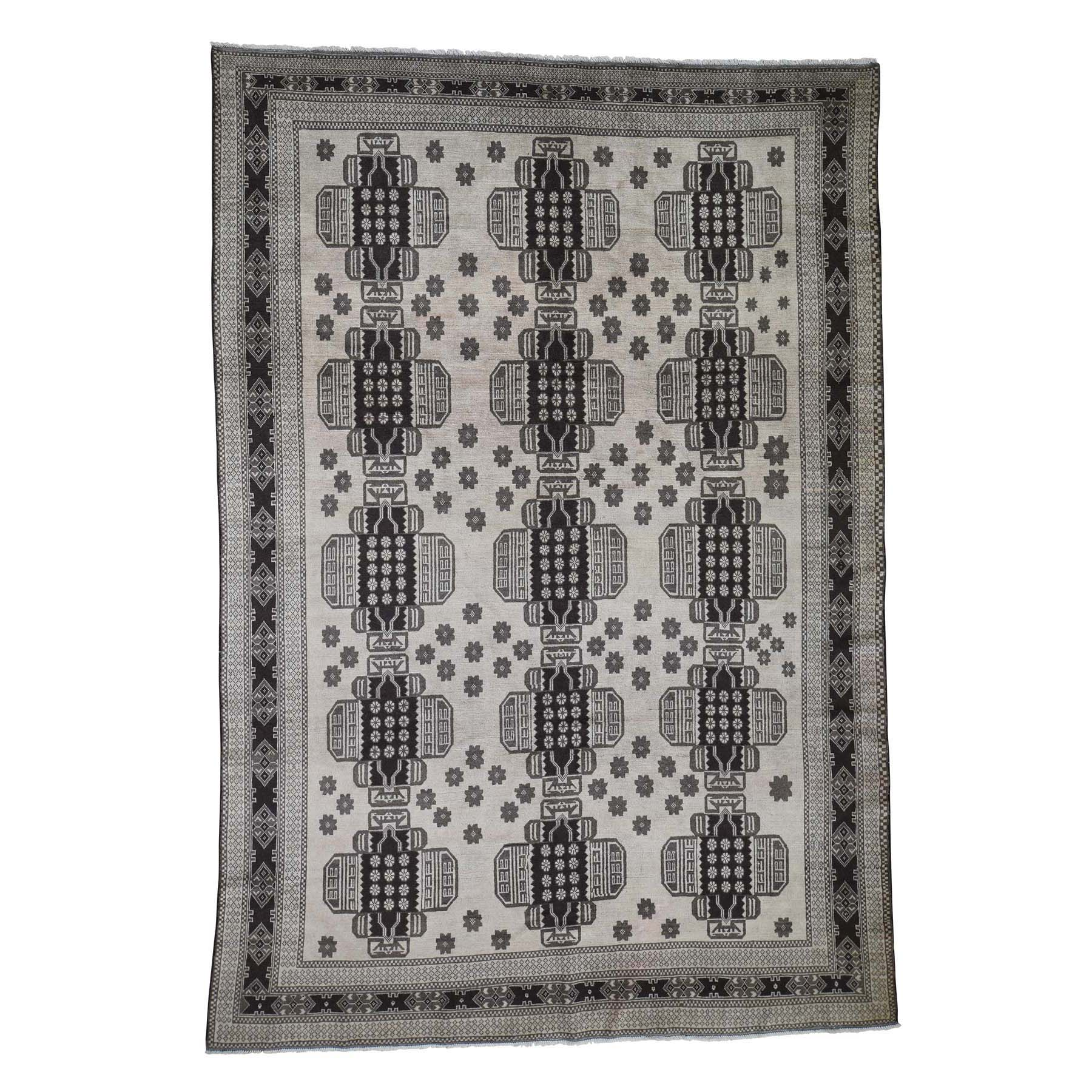 """6'7""""X9'8"""" Vintage Afghan Baluch Natural Color Hand-Knotted Pure Wool Oriental Rug moade0de"""