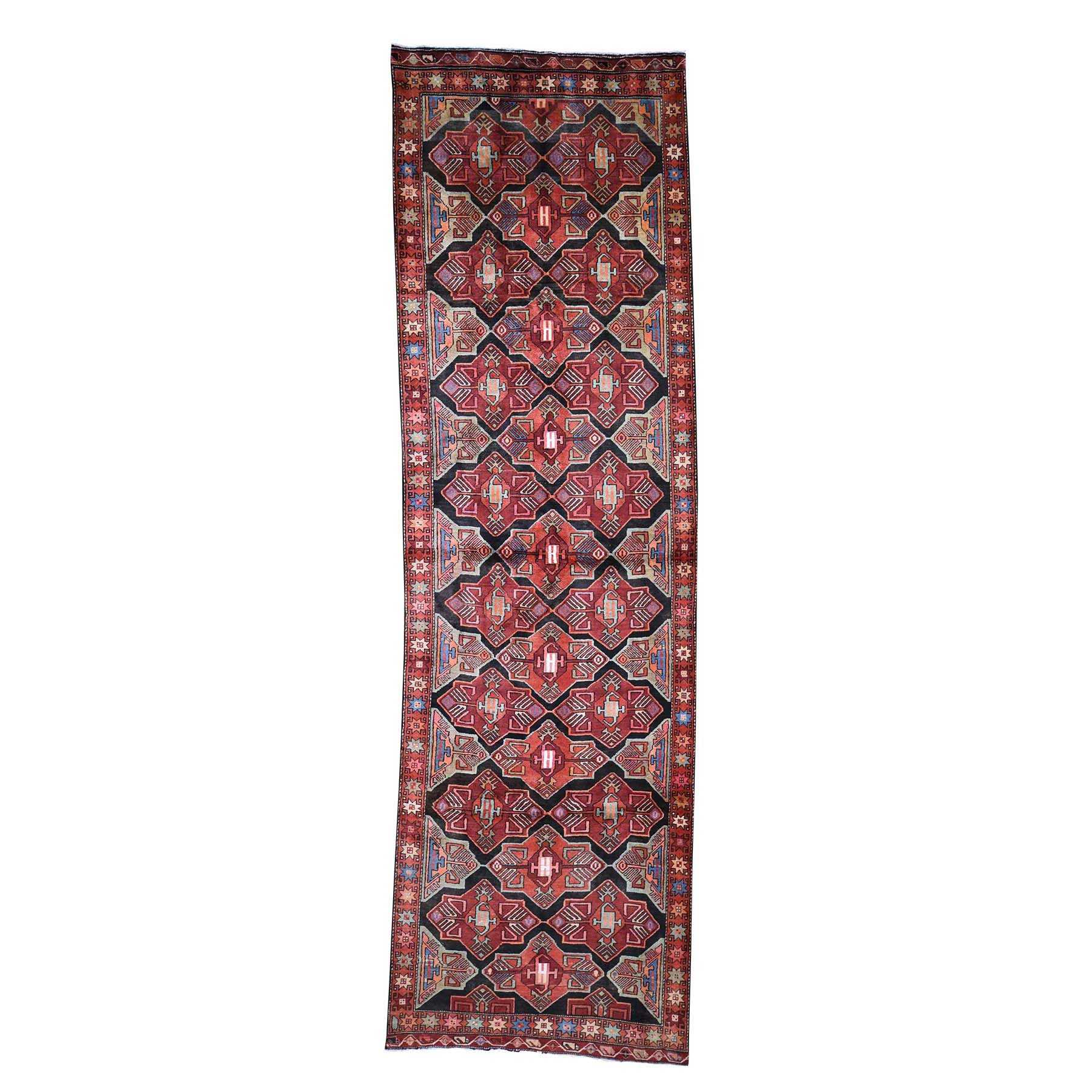"3'10""X12'10"" Vintage Persian Hamadan Wool Wide Gallery Runner Hand-Knotted Oriental Rug moade06c"