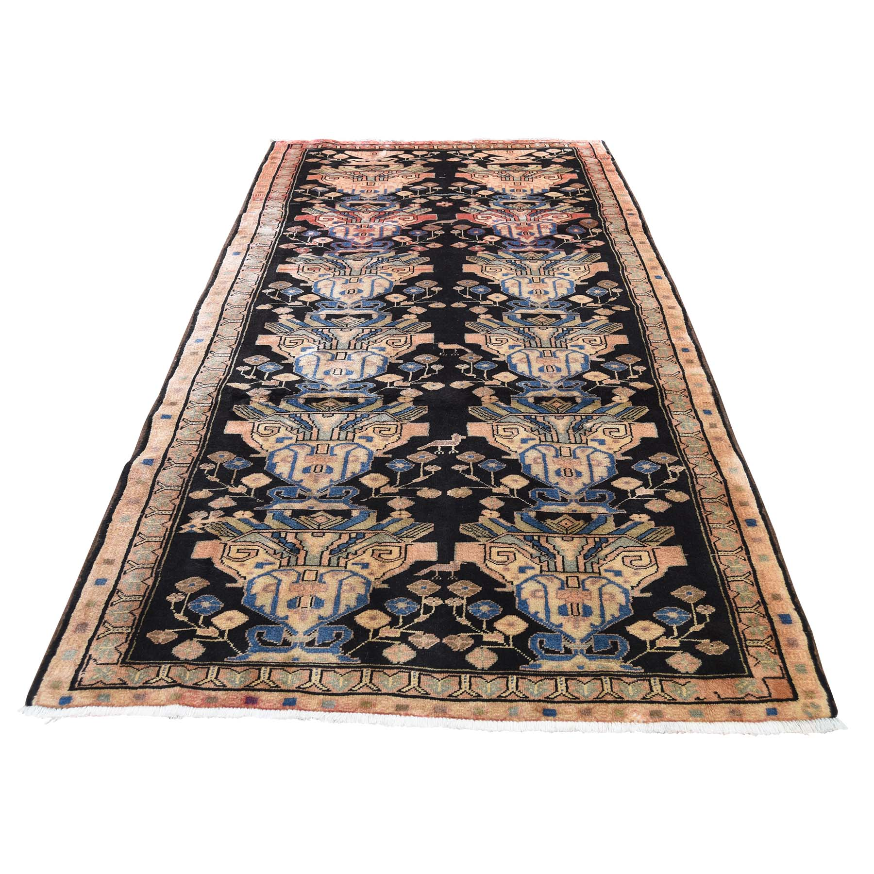"4'4""X9'6"" North East Persian Vase Design Wide Gallery Runner Hand-Knotted Oriental Rug moade06e"