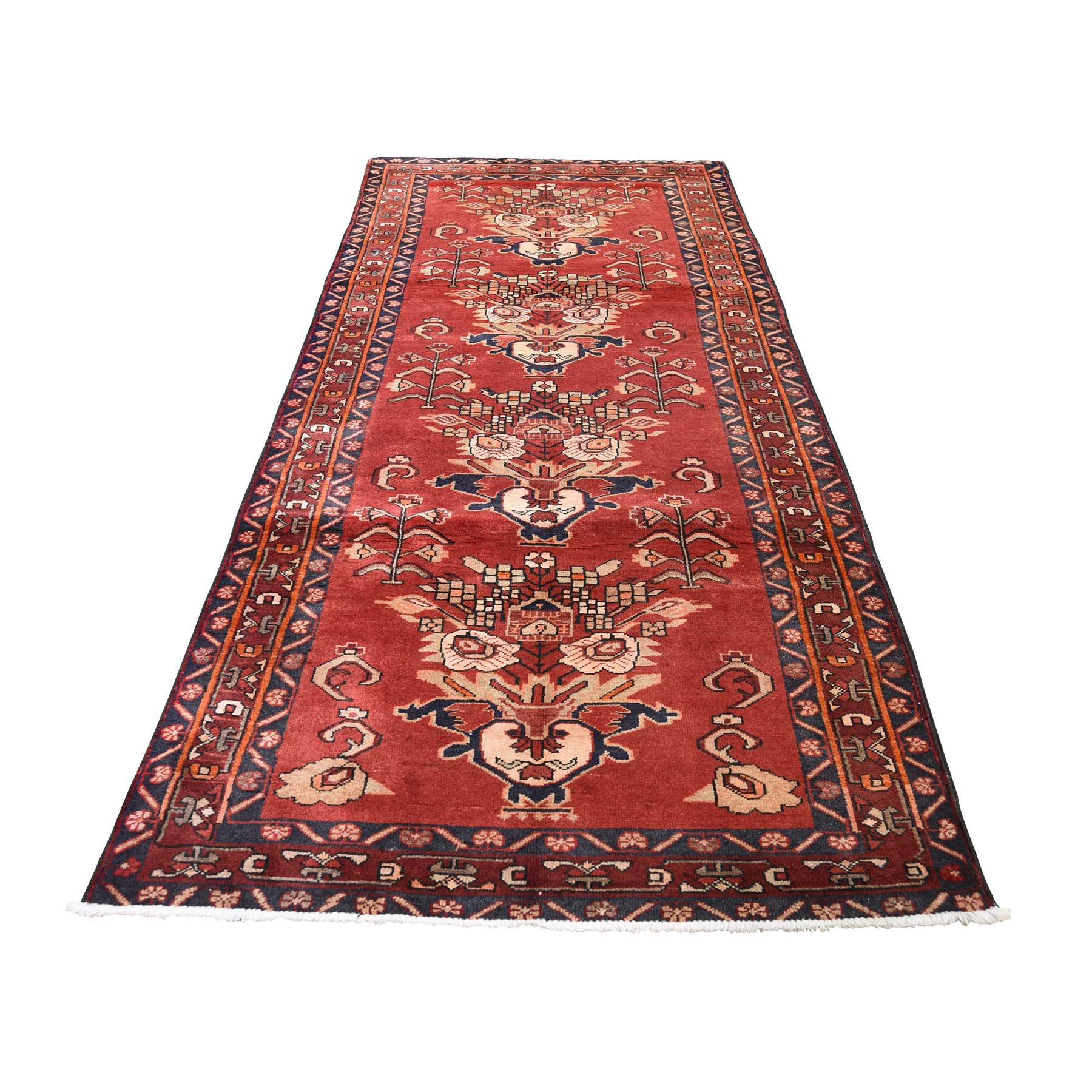 "3'7""X9'9"" North West Persian Vase Design Pure Wool Wide Runner Hand-Knotted Oriental Rug moadeac7"