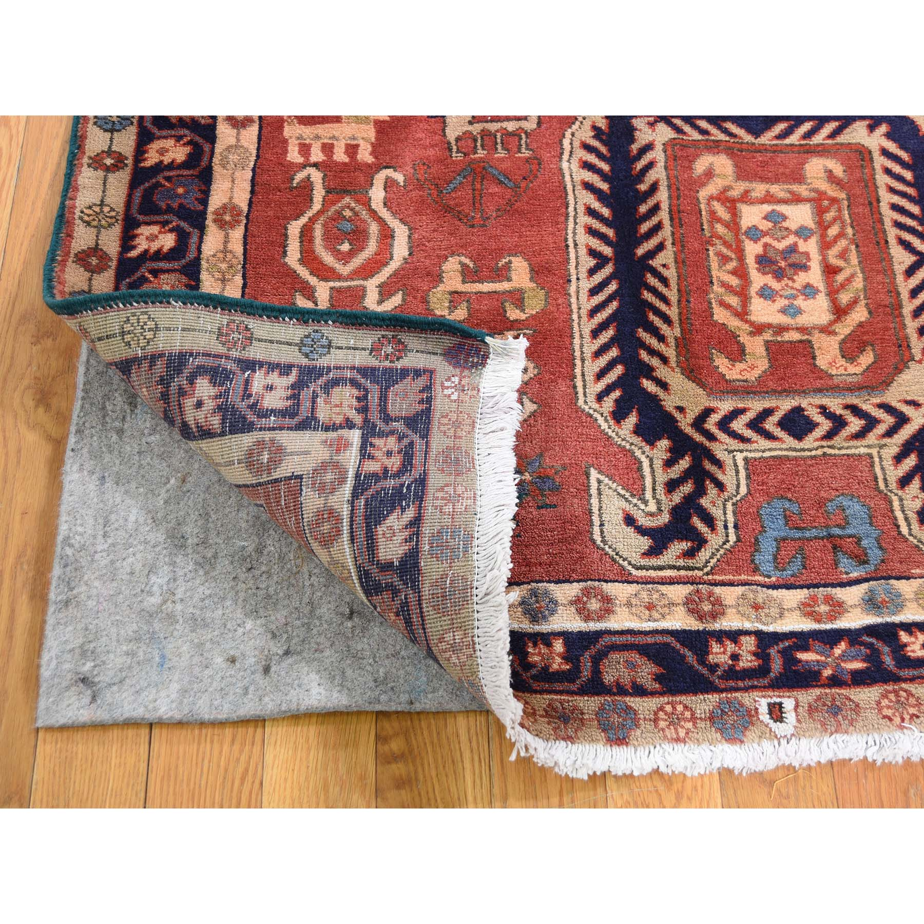 4-8 x10- Vintage North East Persian With Animals & Birds Pure Wool Wide Runner Oriental Rug