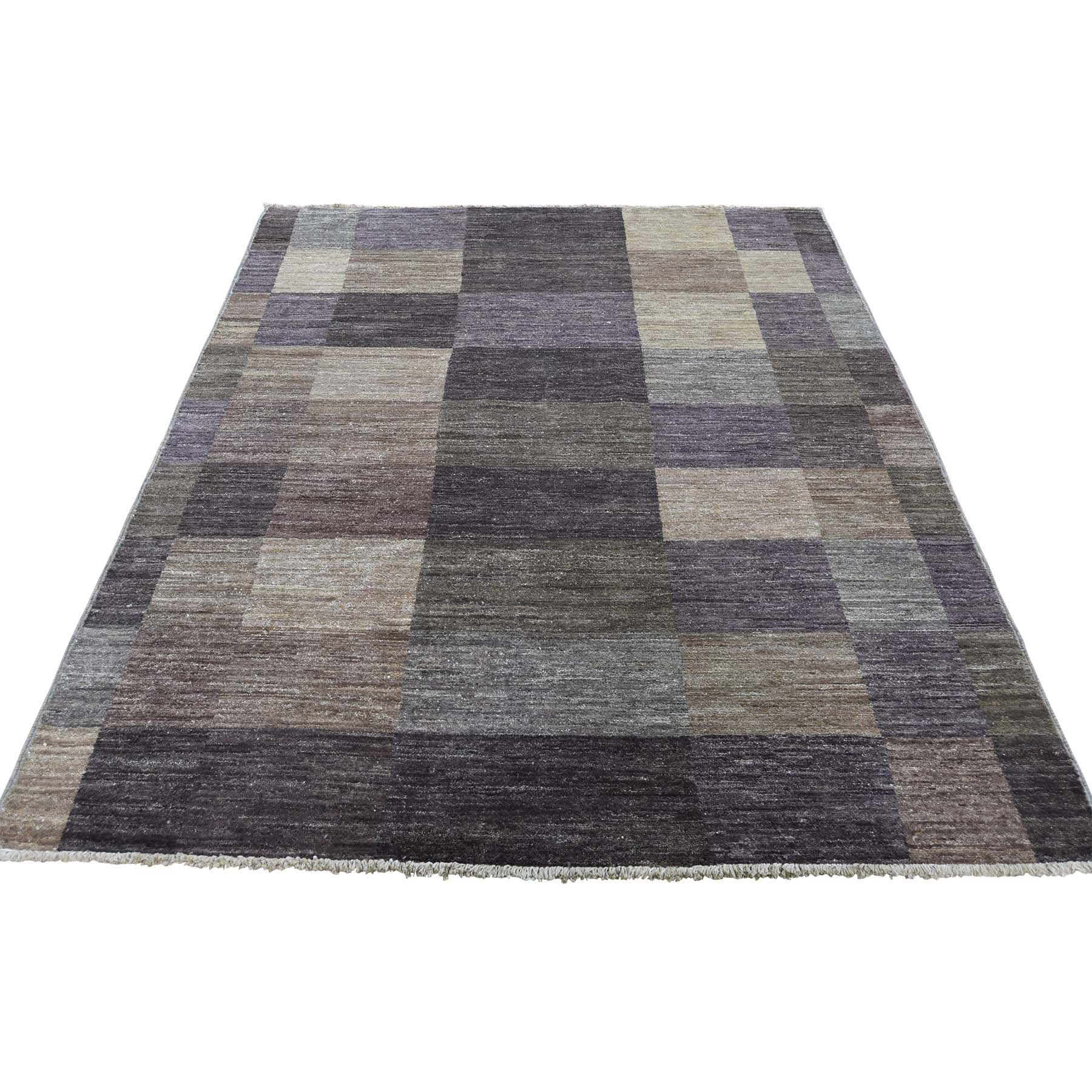 "4'8""X6'8"" Pure Wool Modern Gabbeh Hand Knotted Oriental Rug moadeaed"