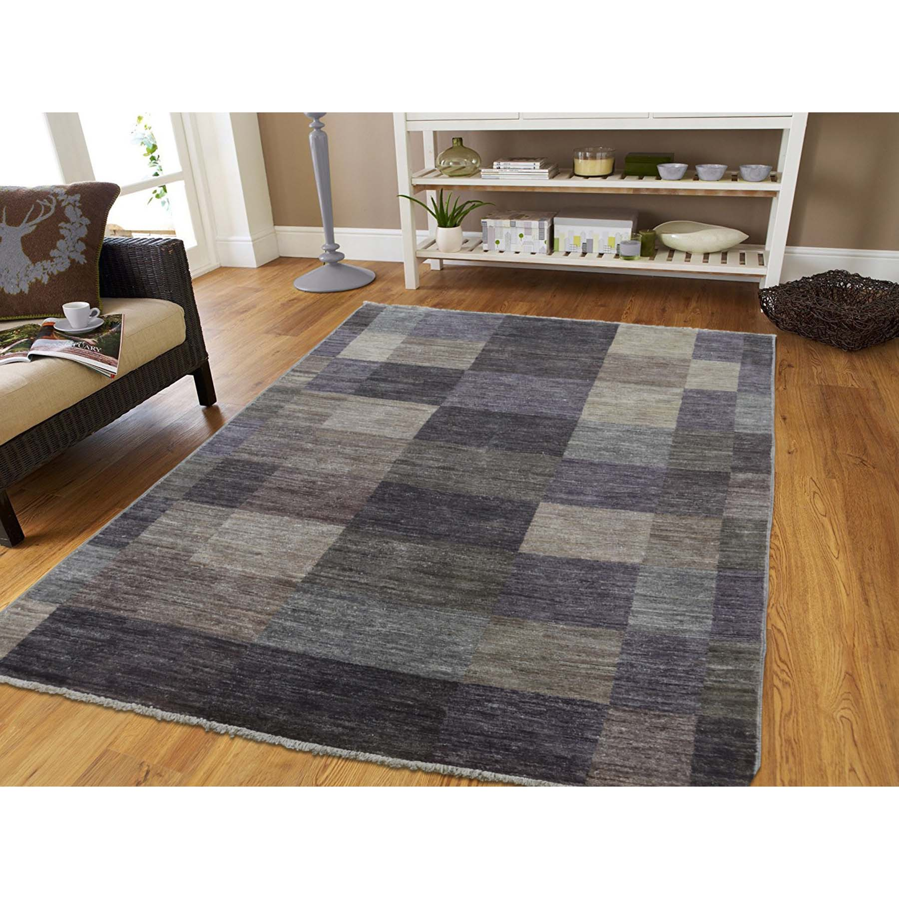 4-8 x6-8  Pure Wool Modern Gabbeh Hand Knotted Oriental Rug