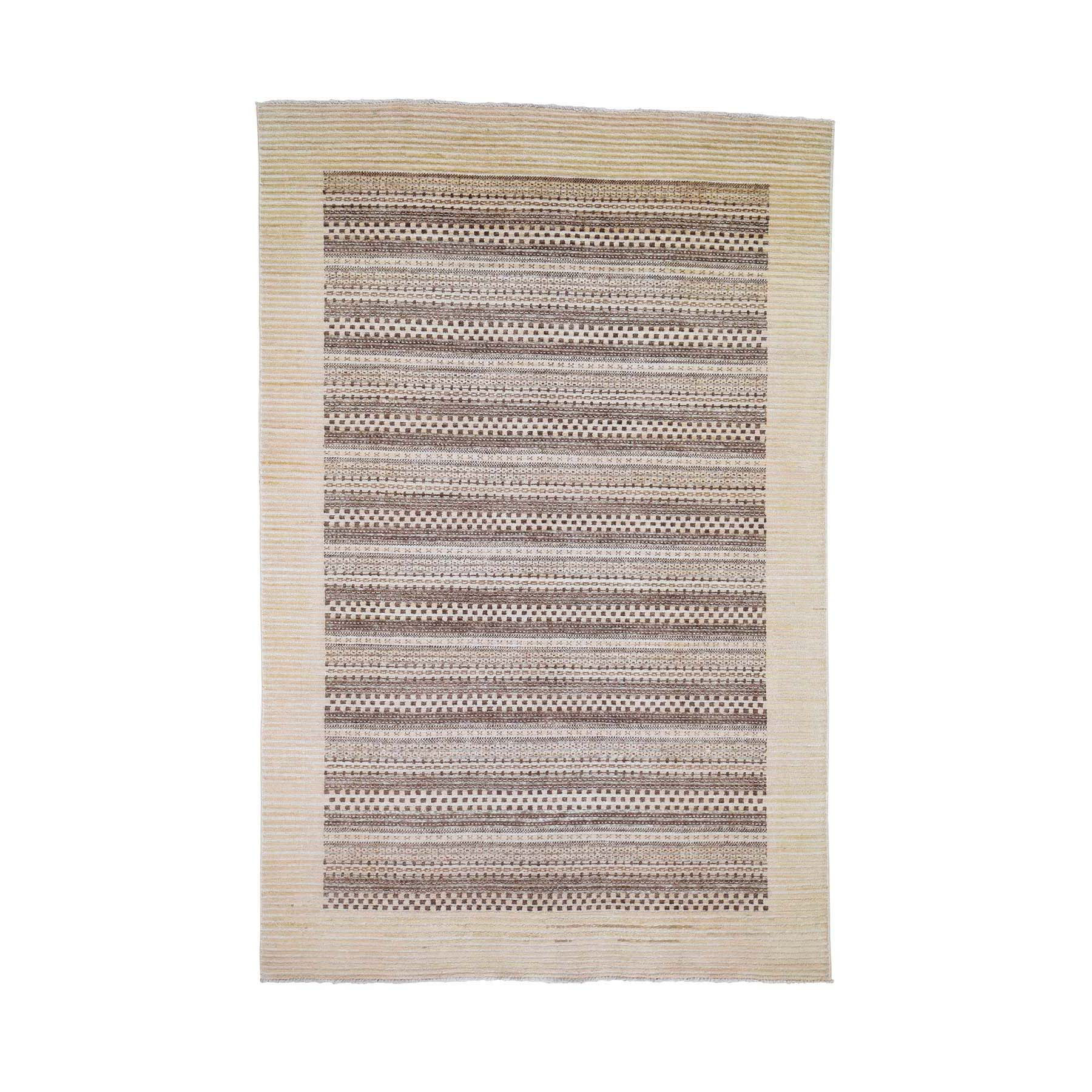 "5'4""X8'1"" Striped Modern Brown Gabbeh Hand Knotted Pure Wool Oriental Rug moadea60"