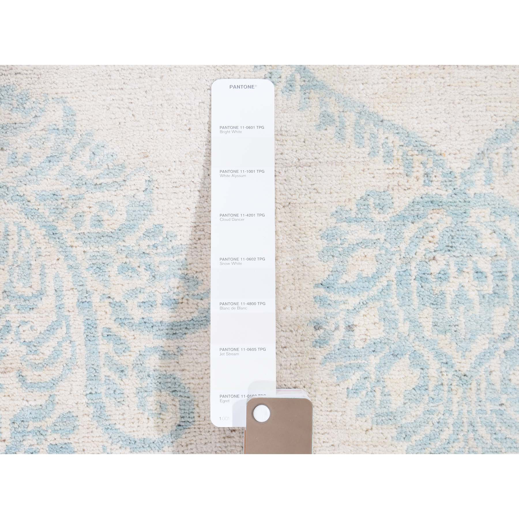 6-1 x8-10  Pure Wool Transitional Tone on Tone Borderless Design Hand-Knotted Ivory Oriental Rug