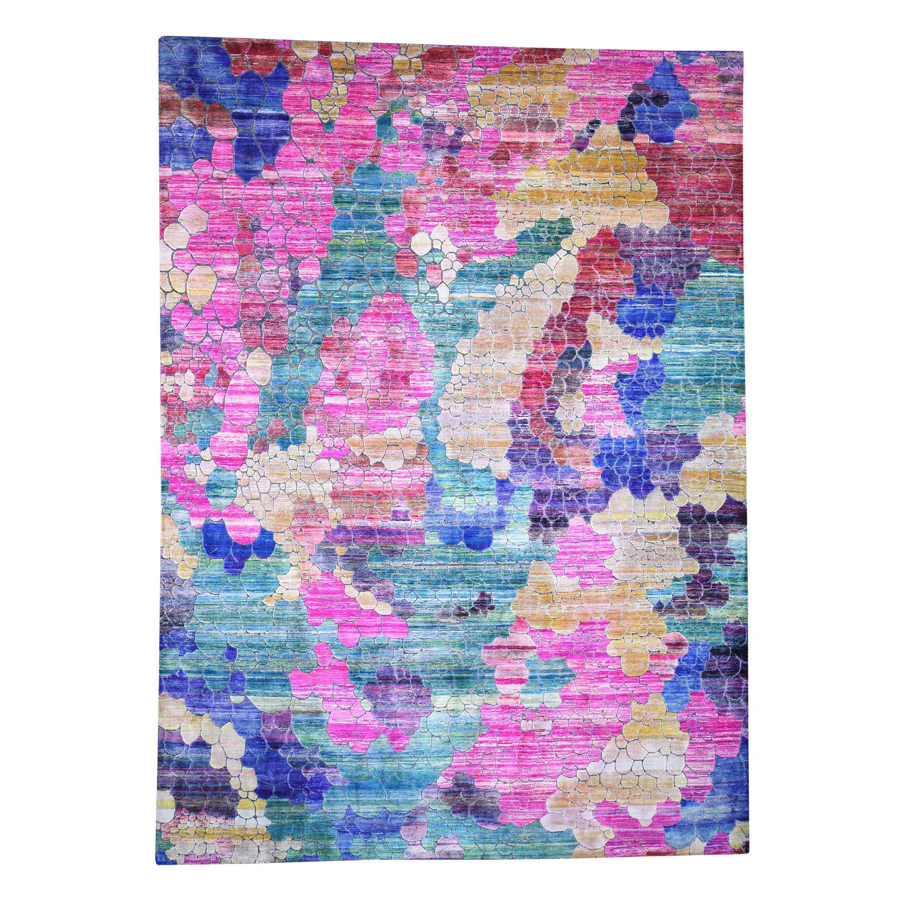 "8'10""x12'2"" THE COLORFUL GRAPES, Sari Silk Hand-Knotted Oriental Rug"
