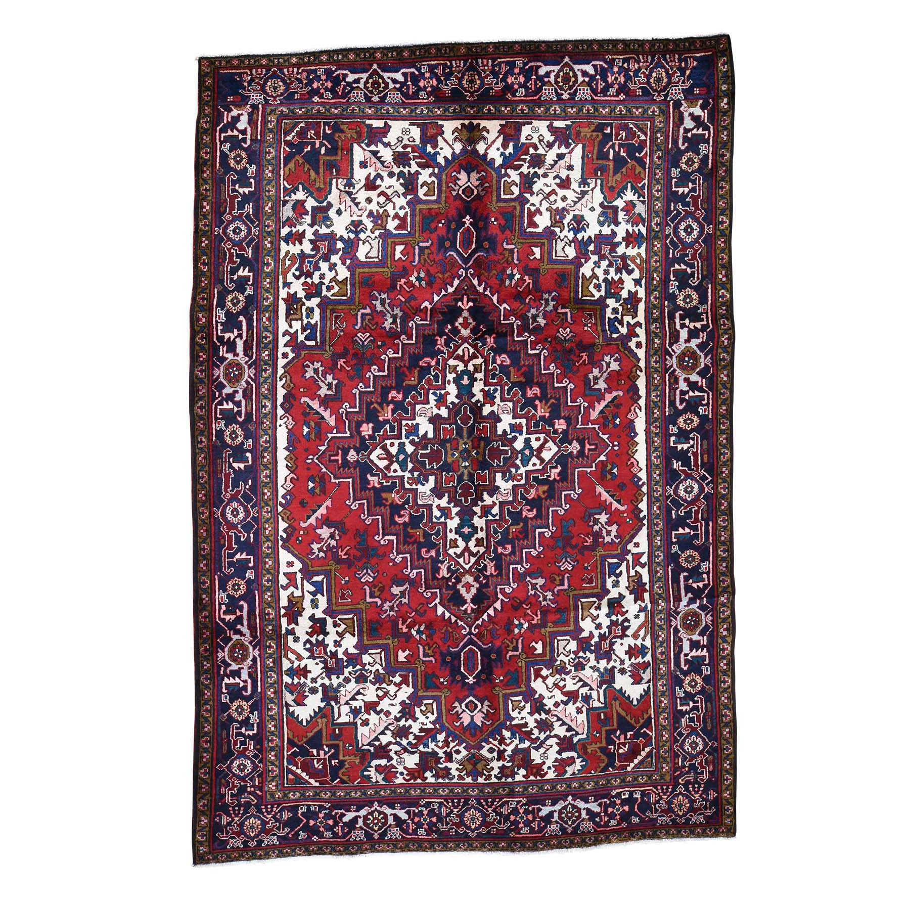 """7'6""""x11'1"""" Red & Ivory Semi Antique Heriz Excellent Condition Hand-Knotted Oriental Rug"""
