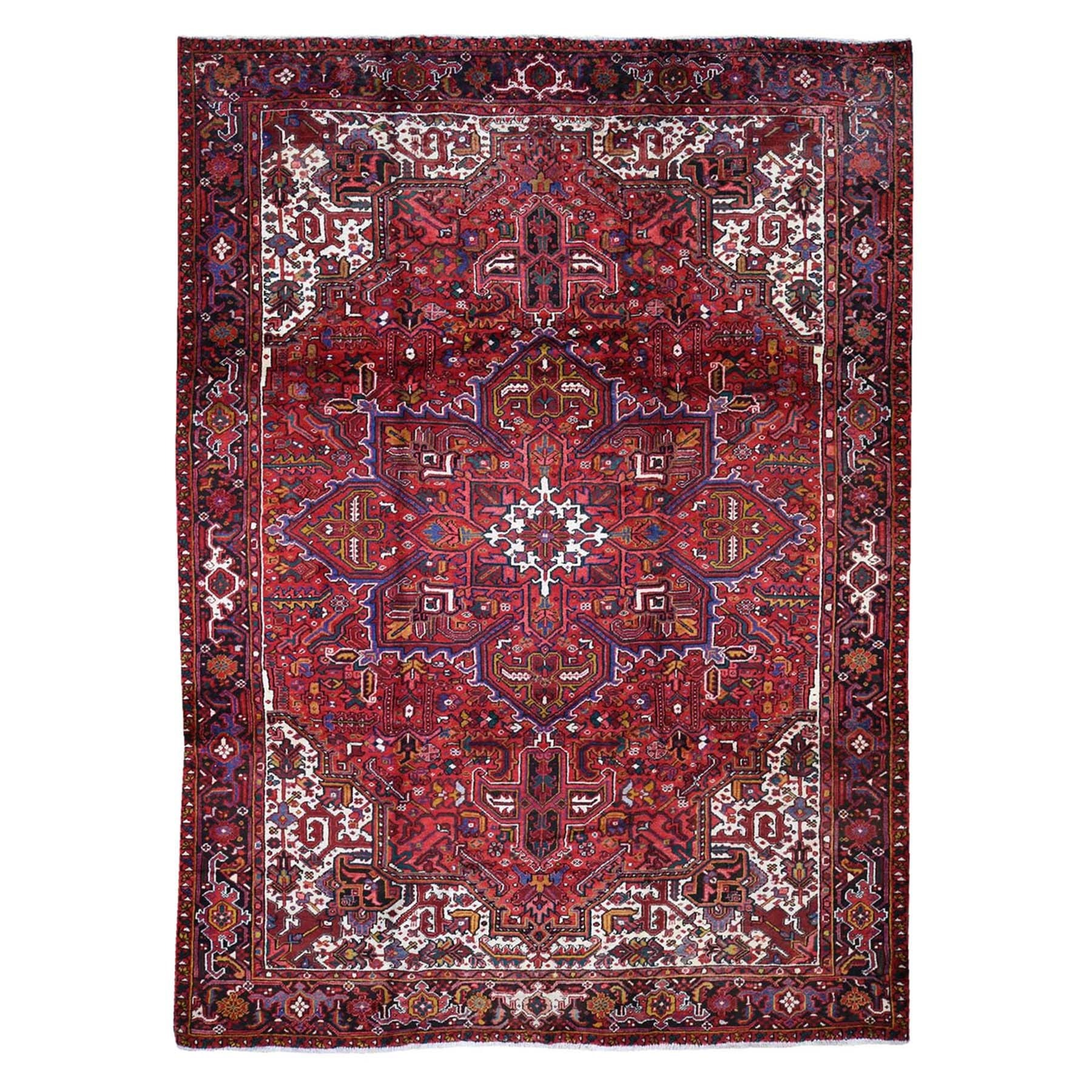 """9'3""""x12'4"""" Red Semi Antique Heriz Good Condition Pure Wool Hand-Knotted Oriental Rug 45191"""