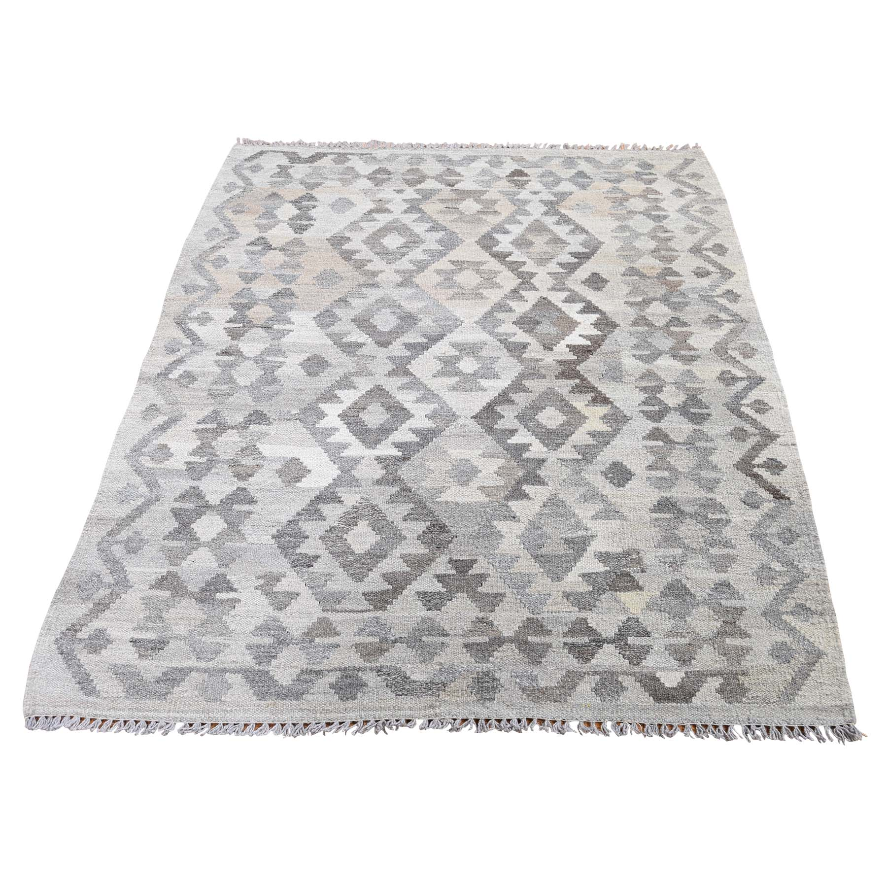 """3'6""""X4'10"""" Undyed Natural Wool Afghan Kilim Reversible Hand Woven Oriental Rug moadeb0b"""