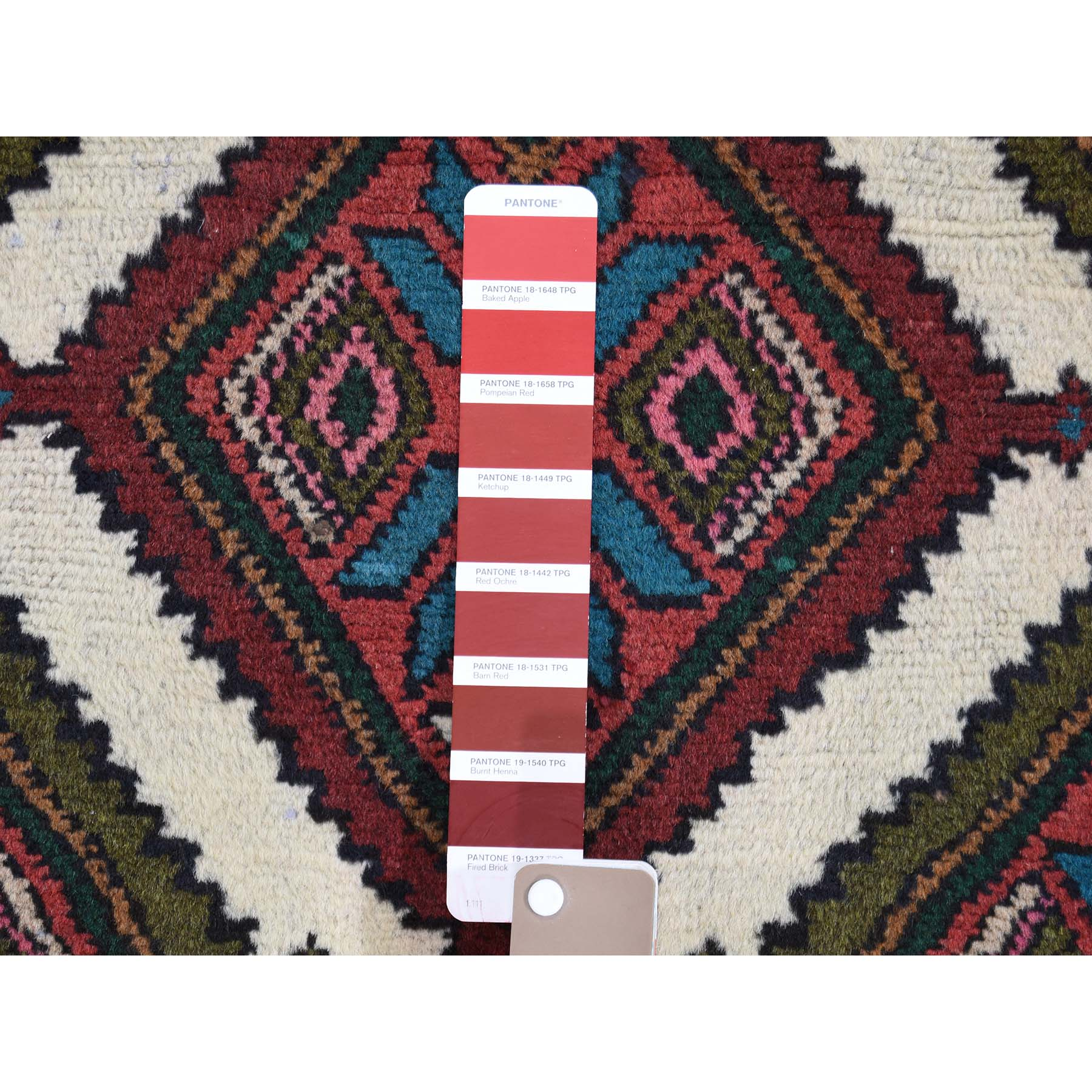 2-8 x7-6  Ivory Vintage Persian Hamadan Pure Wool Runner Hand-Knotted Oriental Rug