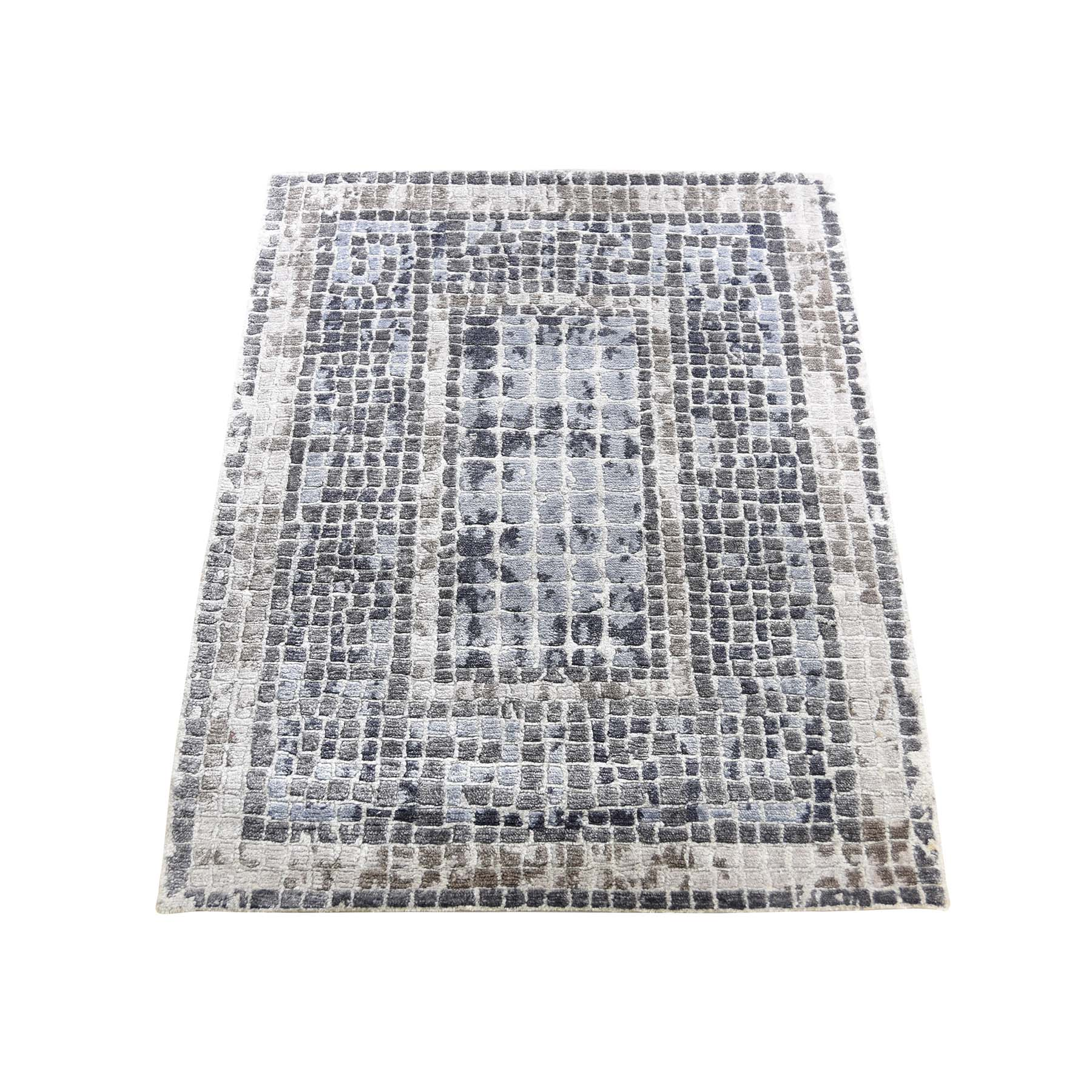 """2'3""""x3'2"""" Silver And Blue Silken Roman Mosaic Design Hand-Knotted Oriental Rug"""