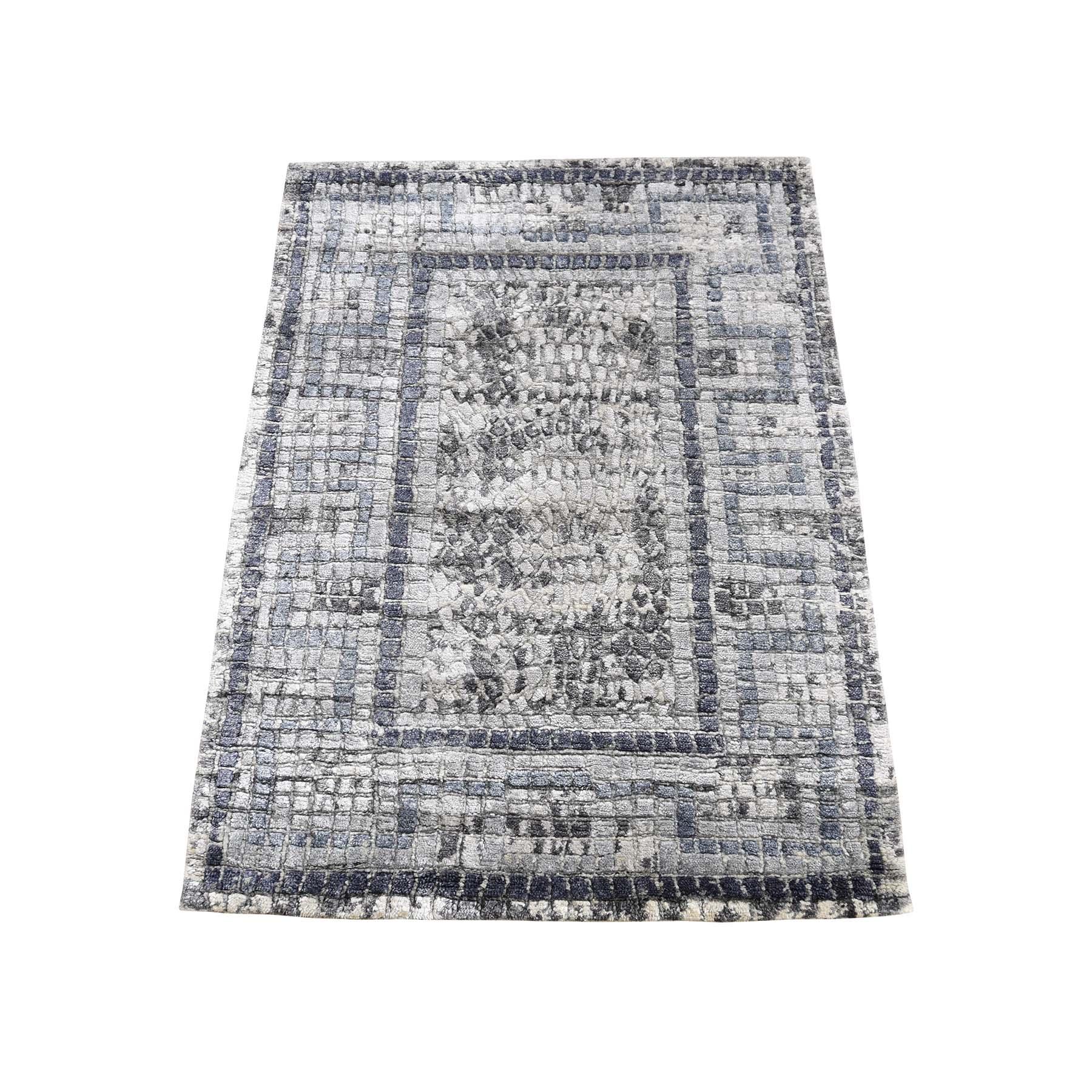 "2'2""X3'2"" Gray Silken Roman Mosaic Design Hand-Knotted Oriental Rug moadeb80"