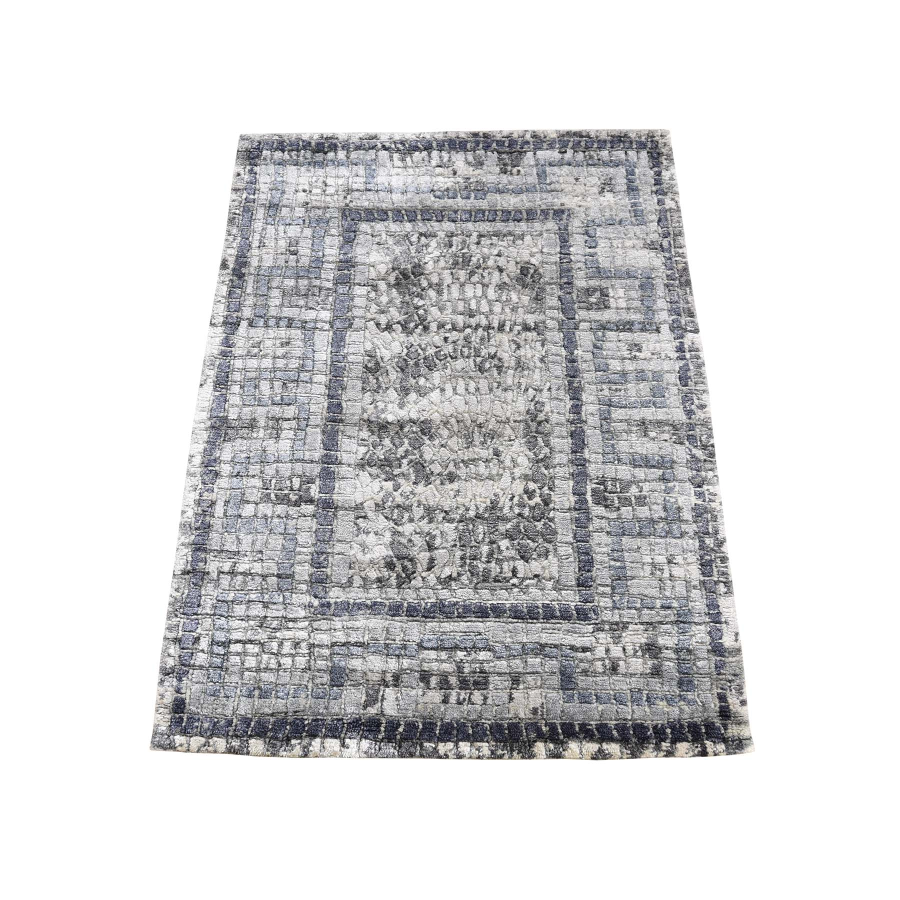 "2'3""X3'2"" Gray Silken Roman Mosaic Design Hand-Knotted Oriental Rug moadeb8b"