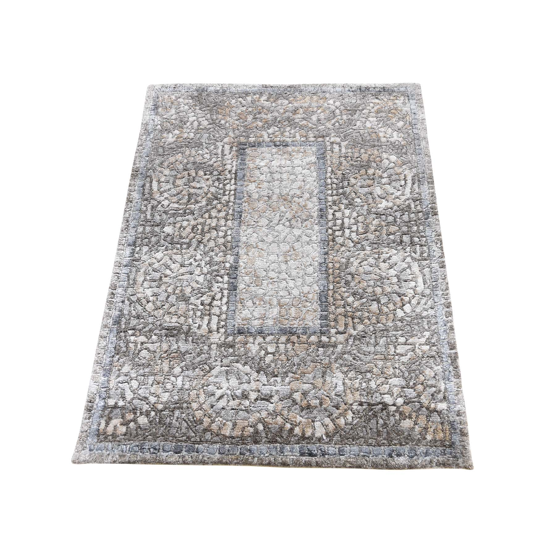 """2'1""""x3' Ivory And Taupe Silken Roman Mosaic Design Hand-Knotted Oriental Rug"""