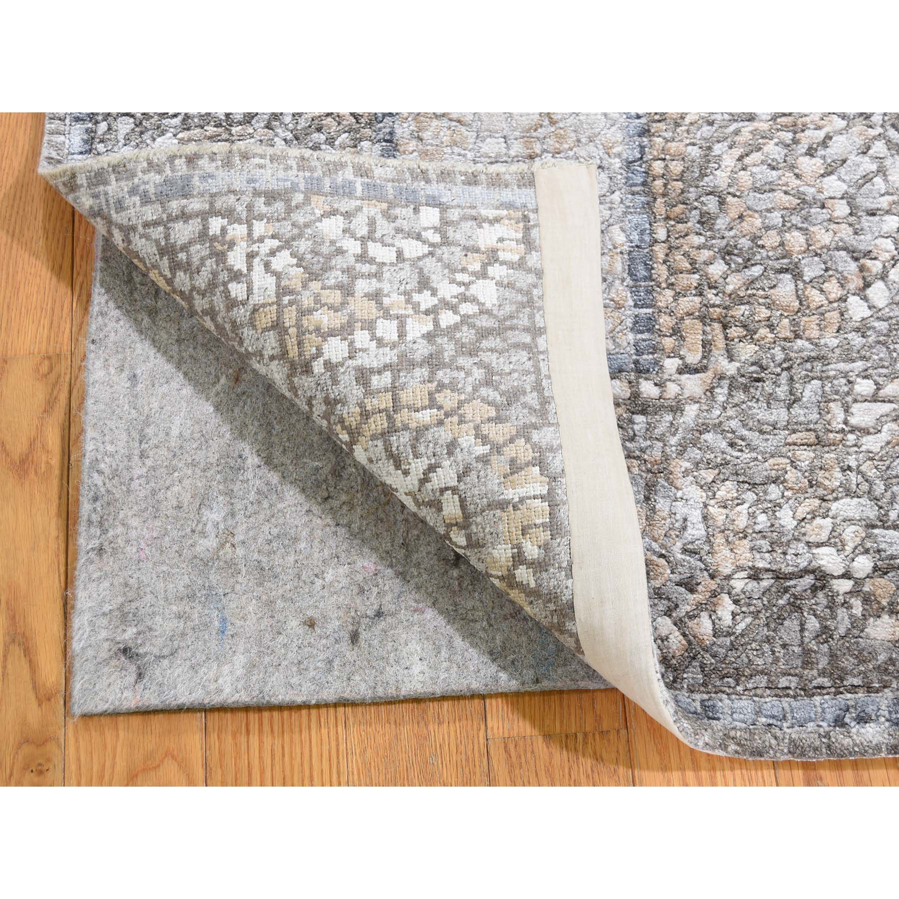 2-1 x3- Ivory And Taupe Silken Roman Mosaic Design Hand-Knotted Oriental Rug