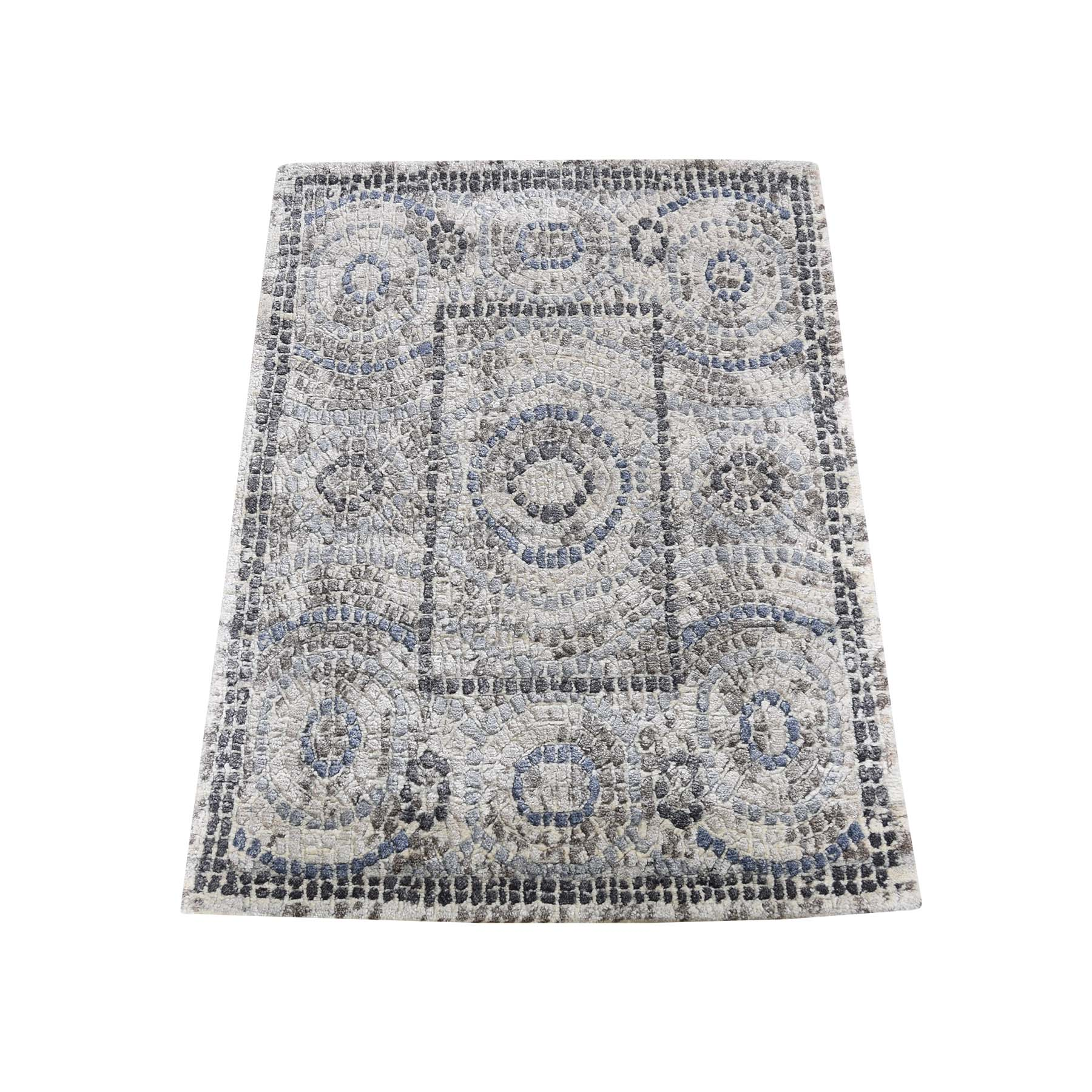 "2'2""x3' Blue Silken Roman Mosaic Design Hand-Knotted Oriental Rug"