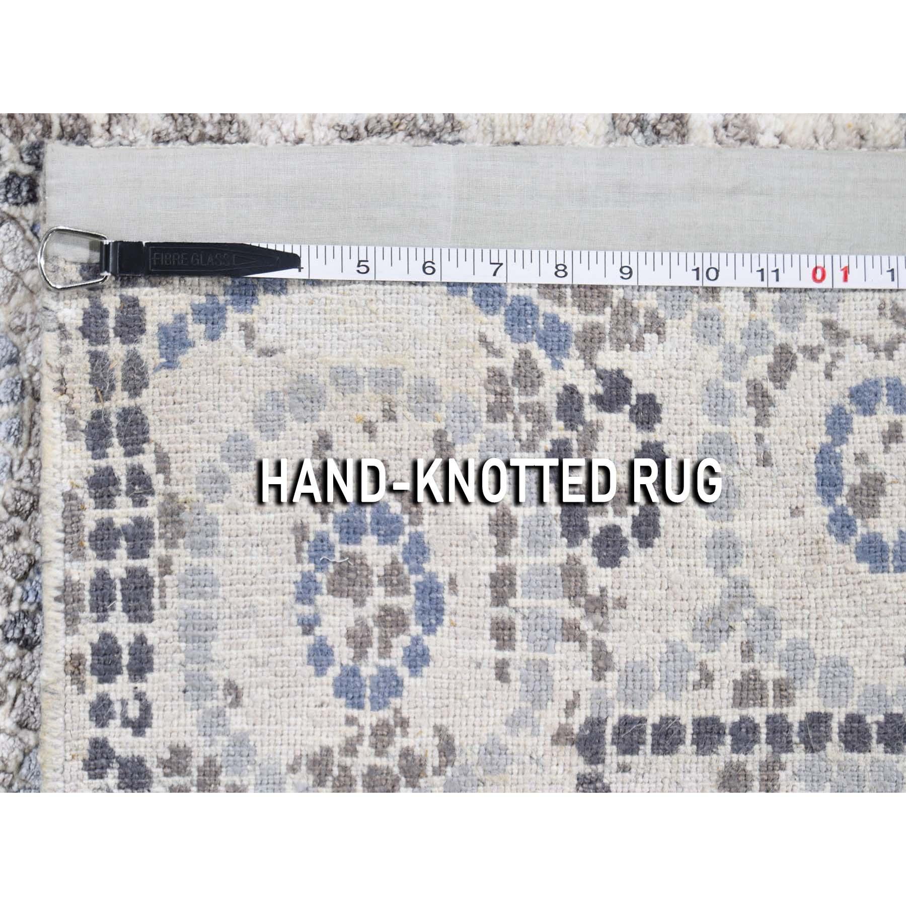 2-2 x3- Blue Silken Roman Mosaic Design Hand-Knotted Oriental Rug