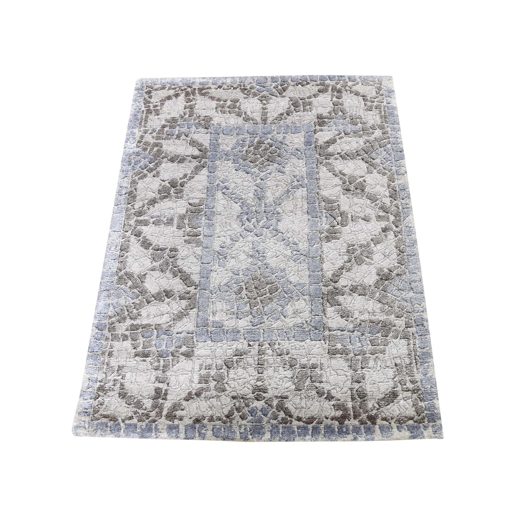 "2'2""x3'1"" Silver,Blue Silken Roman Mosaic Design Hand-Knotted Oriental Rug"