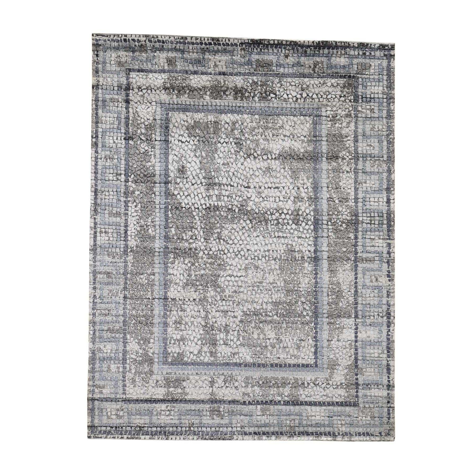 "5'2""X6'10"" Gray Silken Roman Mosaic Design Hand-Knotted Oriental Rug moadeb9e"