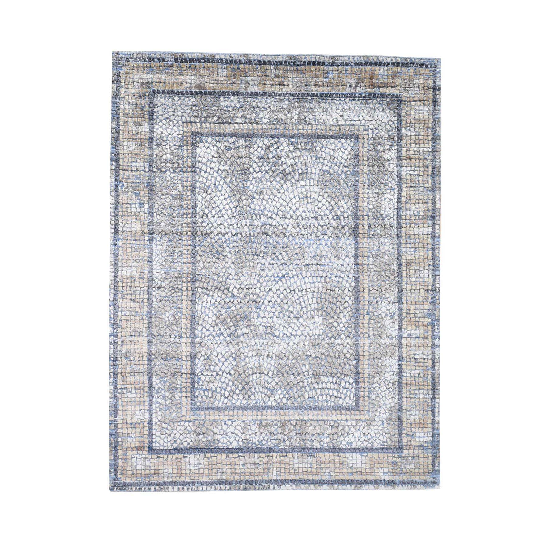 "5'2""X6'10"" Denim Silken Roman Mosaic Design Hand-Knotted Oriental Rug moadeb96"