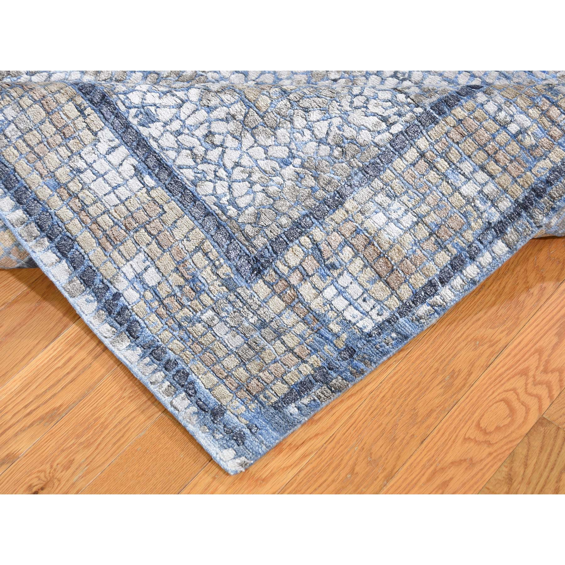 5-2 x6-10  Denim Silken Roman Mosaic Design Hand-Knotted Oriental Rug