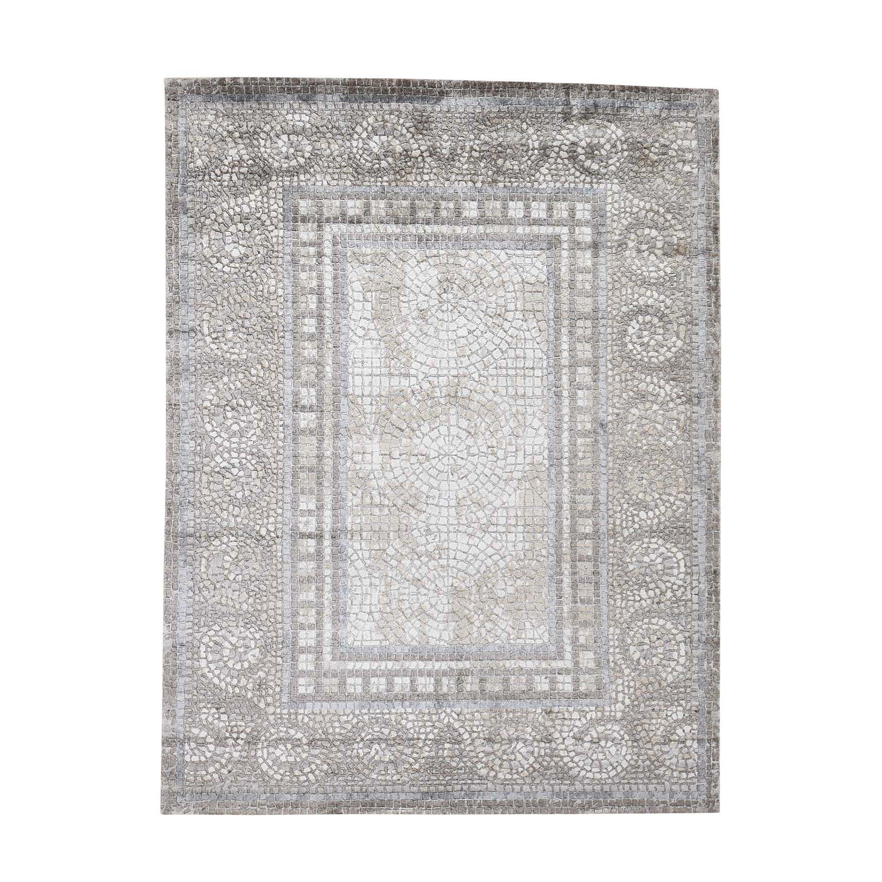 "5'2""x6'10"" Ivory And Taupe Silken Roman Mosaic Design Hand-Knotted Oriental Rug"
