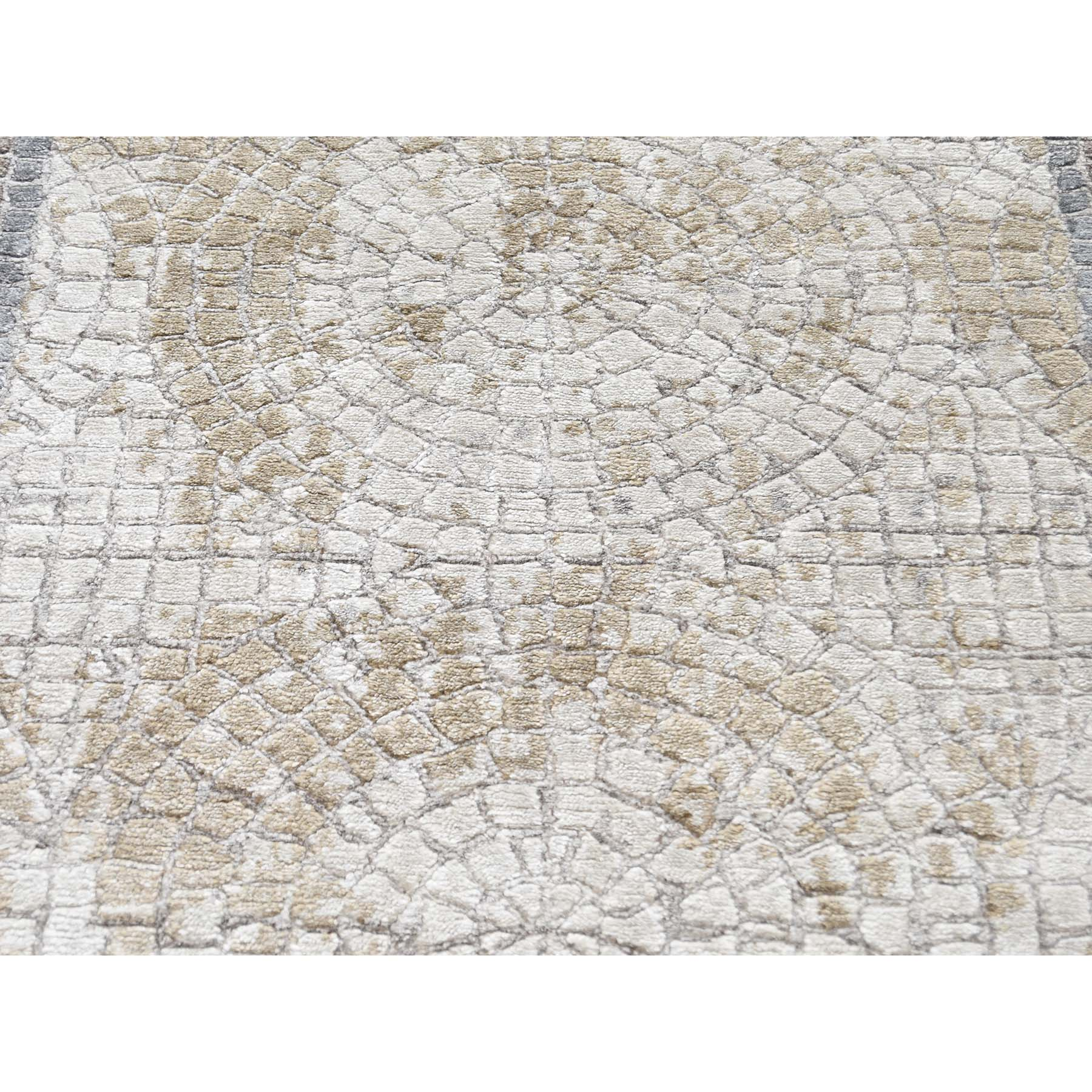 5-2 x6-10  Ivory And Taupe Silken Roman Mosaic Design Hand-Knotted Oriental Rug