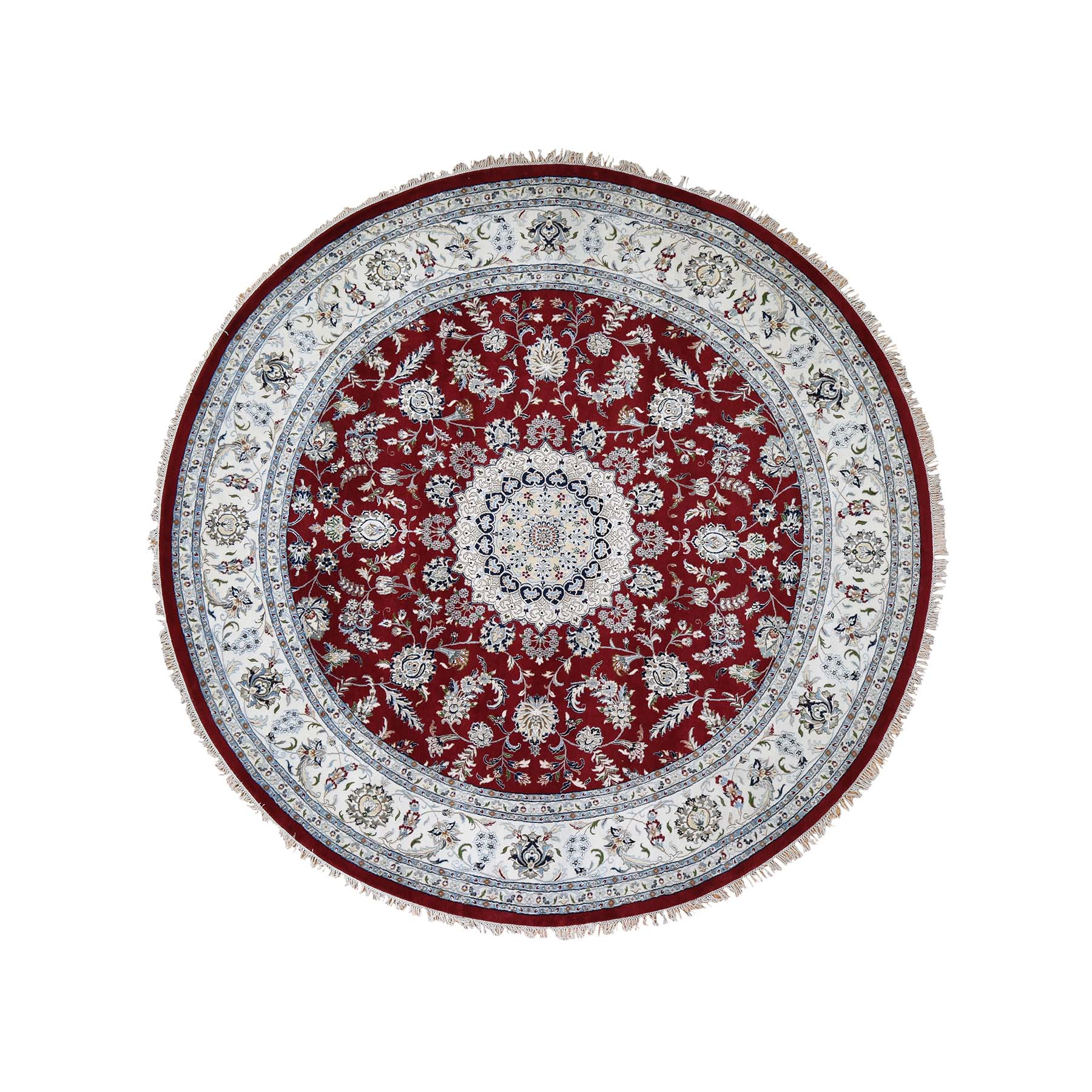 "9'8""X9'8"" Hand-Knotted Wool And Silk 250 Kpsi Red Nain Round Oriental Rug moadeb99"
