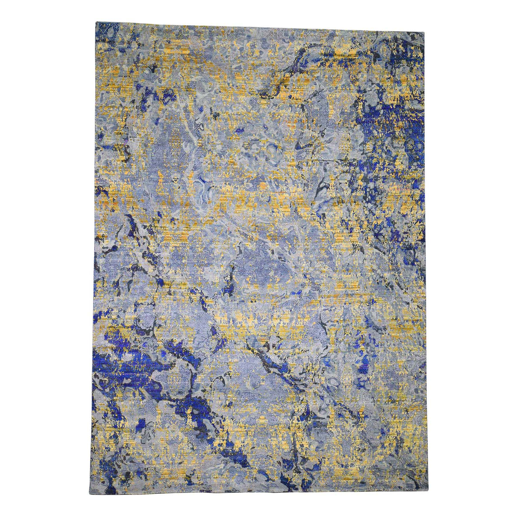 "8'10""X12'5"" Sari Silk With Textured Wool Yellow & Navy Blue Hand-Knotted Oriental Rug moadecaa"